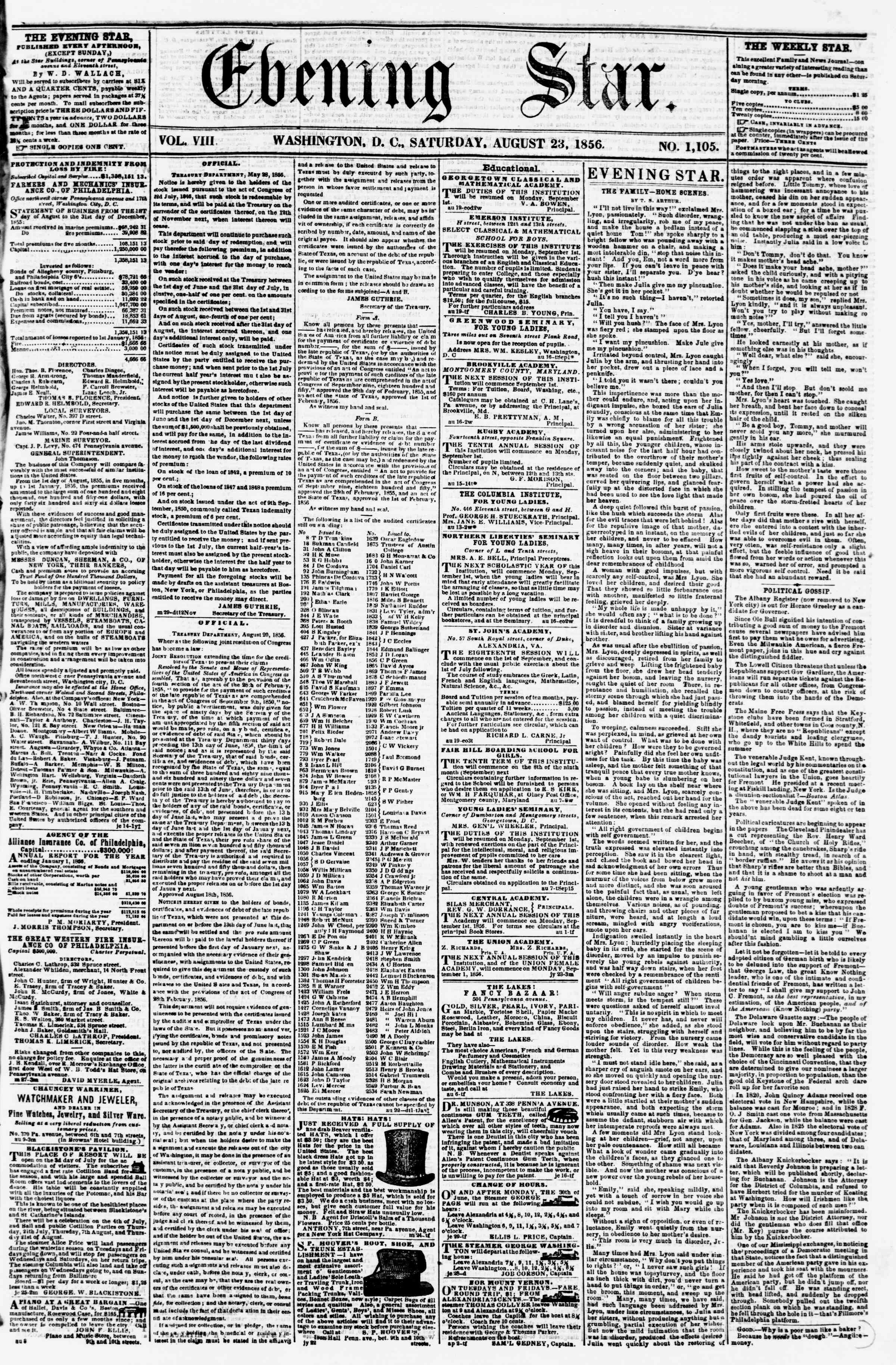 Newspaper of Evening Star dated August 23, 1856 Page 1