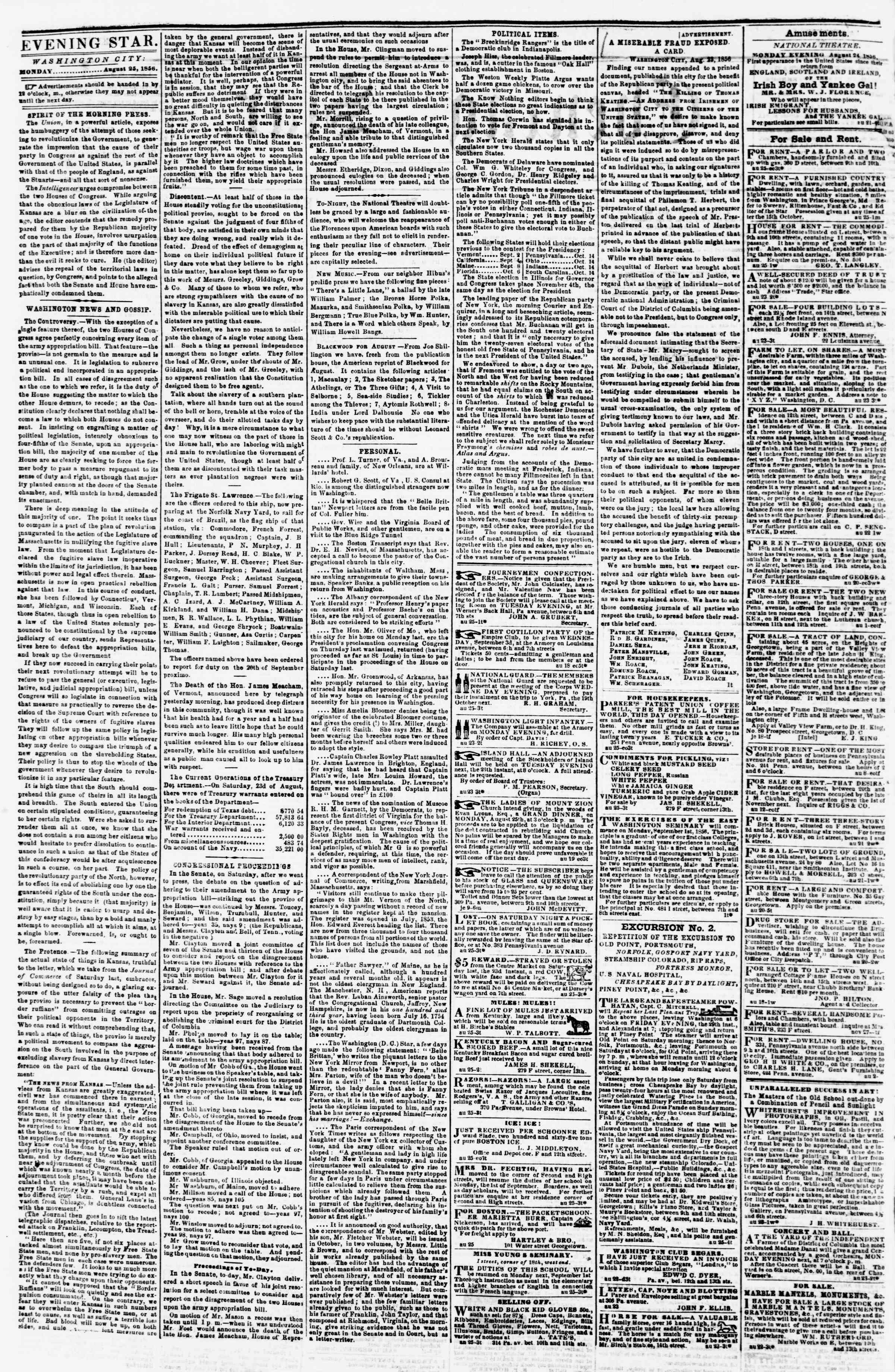 Newspaper of Evening Star dated August 25, 1856 Page 2