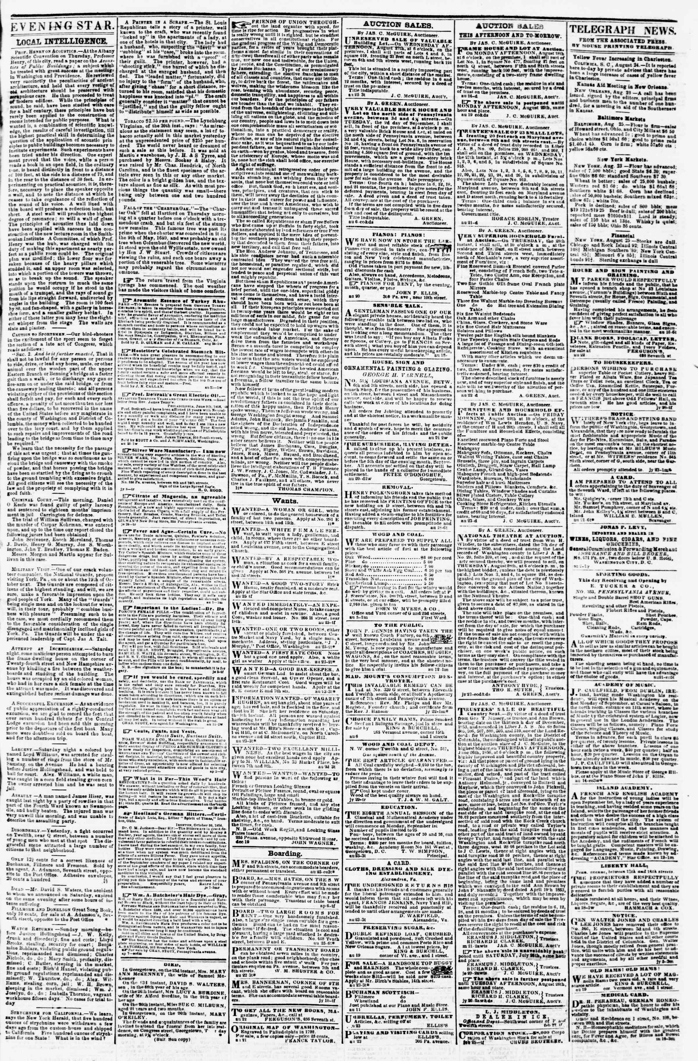 Newspaper of Evening Star dated August 25, 1856 Page 3