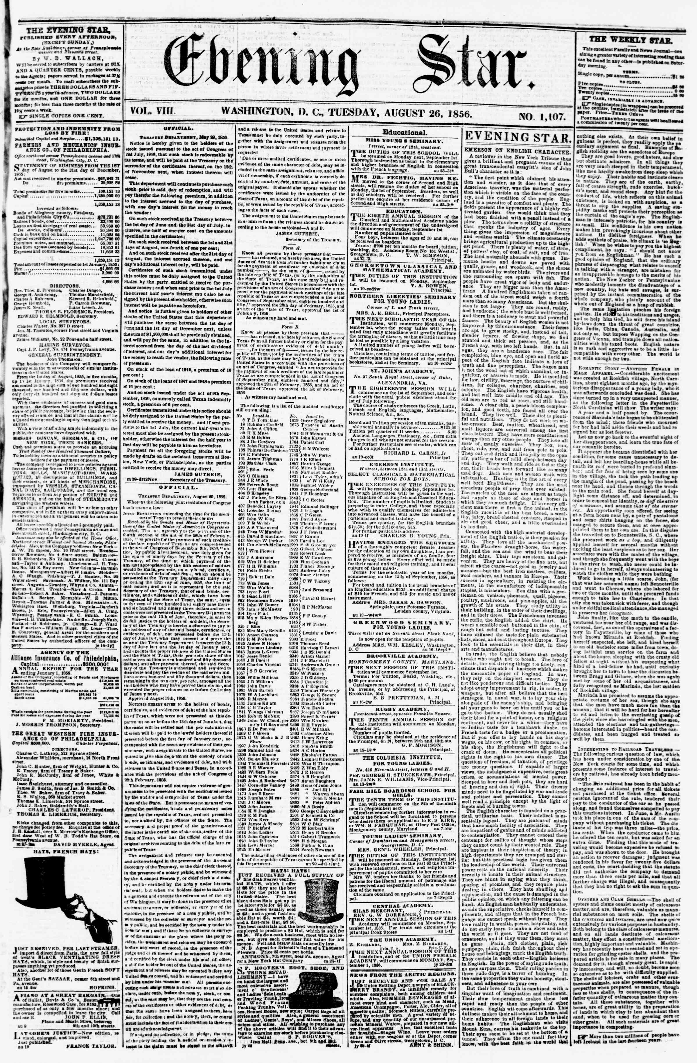 Newspaper of Evening Star dated August 26, 1856 Page 1