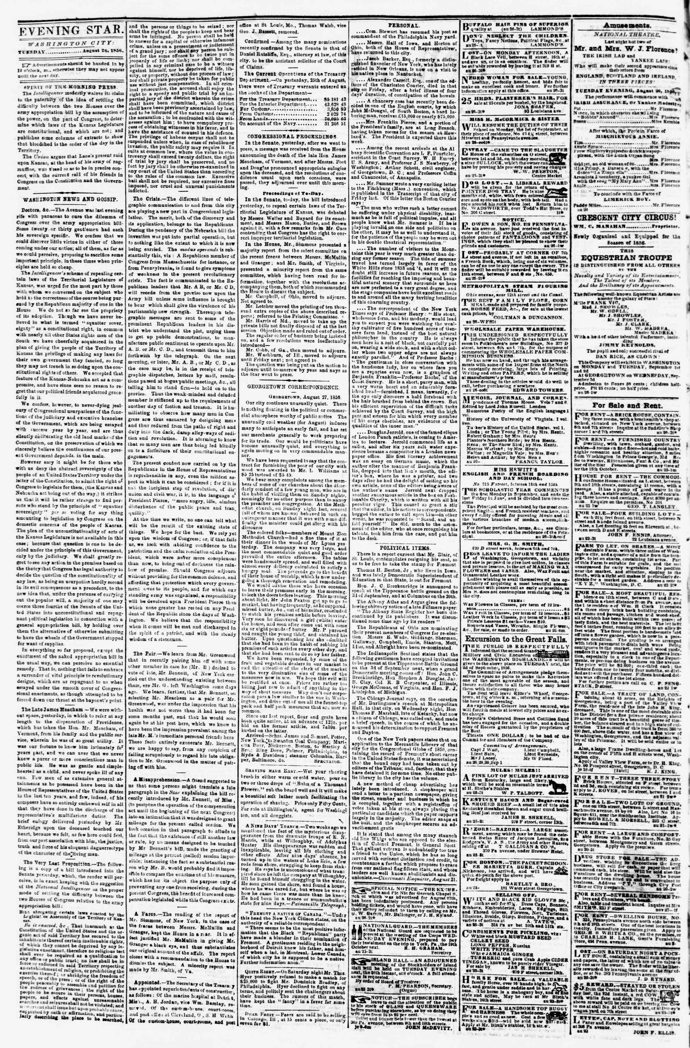 Newspaper of Evening Star dated August 26, 1856 Page 2