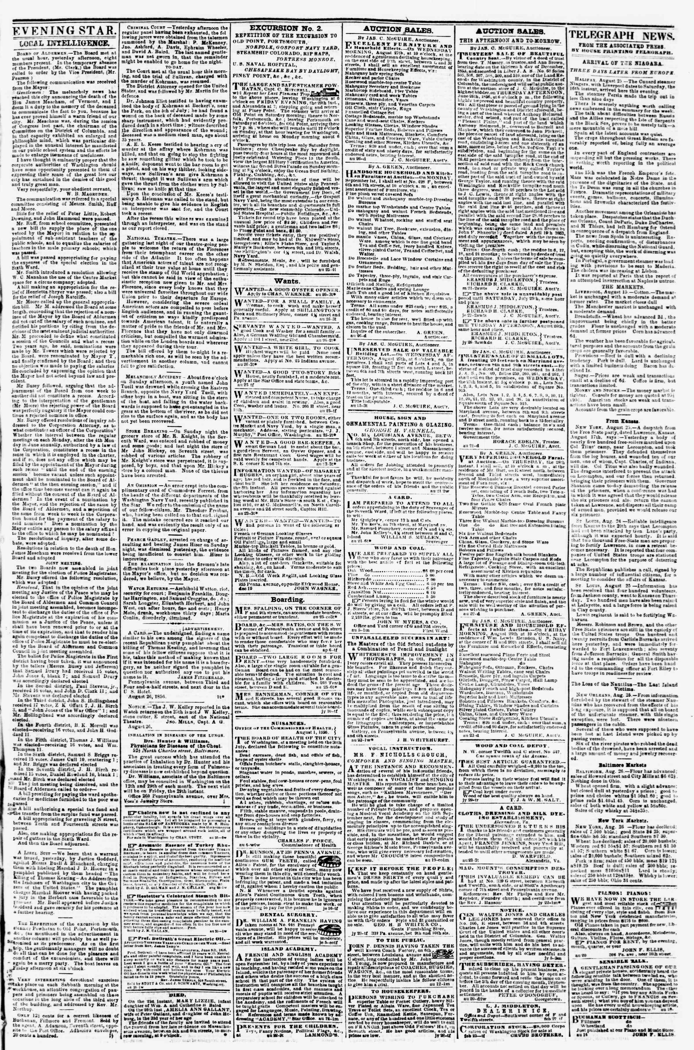 Newspaper of Evening Star dated August 26, 1856 Page 3