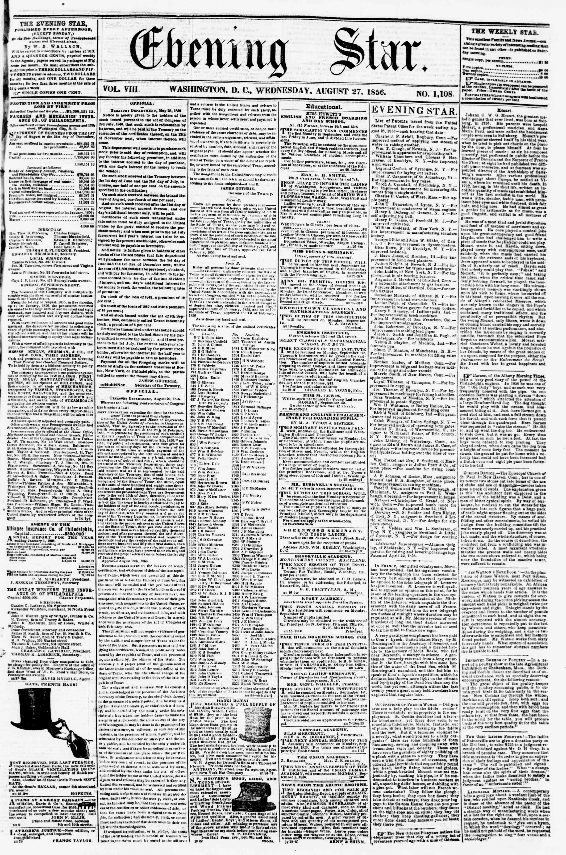 Newspaper of Evening Star dated August 27, 1856 Page 1