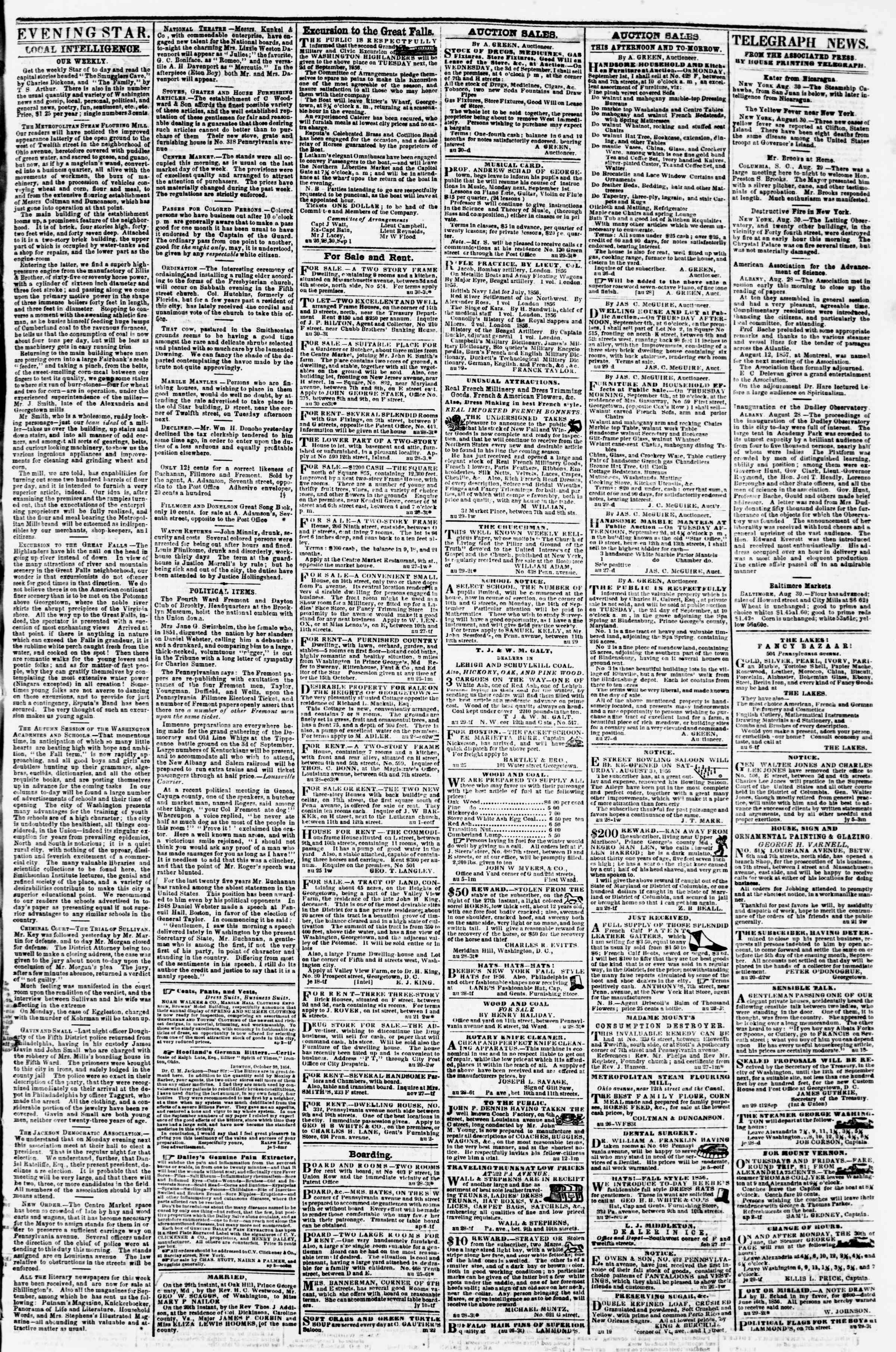 Newspaper of Evening Star dated August 30, 1856 Page 3