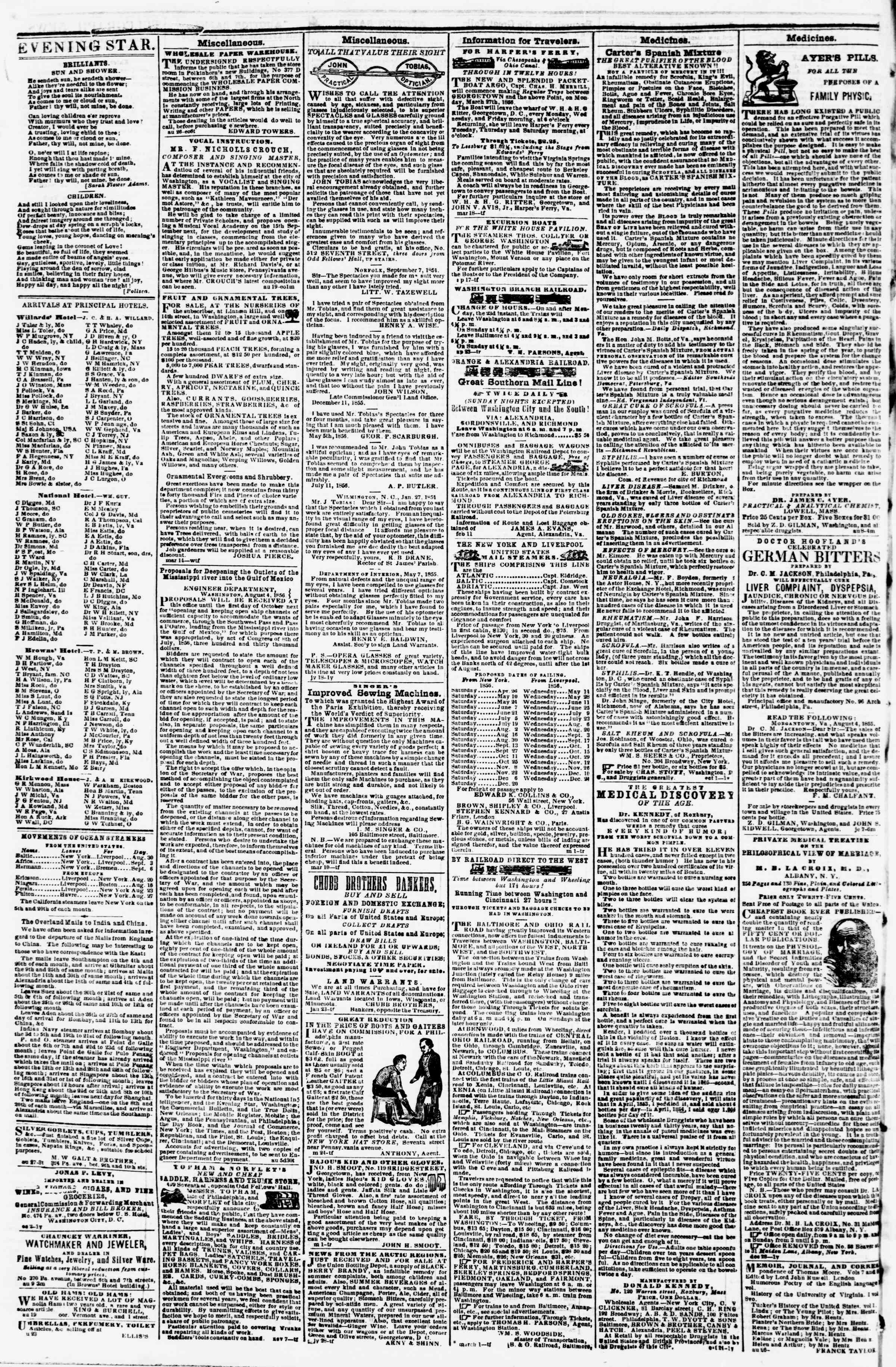 Newspaper of Evening Star dated August 30, 1856 Page 4