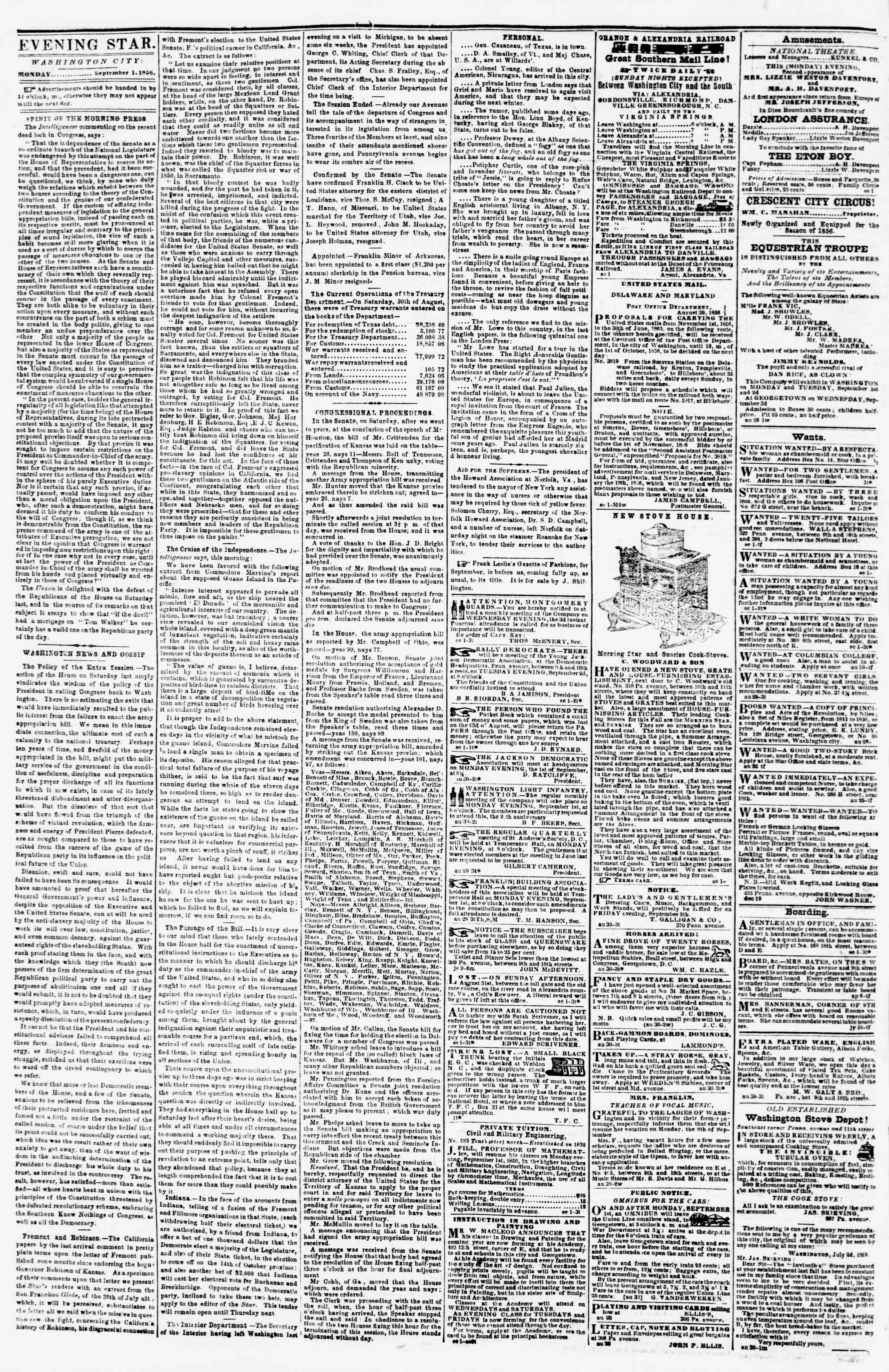 Newspaper of Evening Star dated September 1, 1856 Page 2