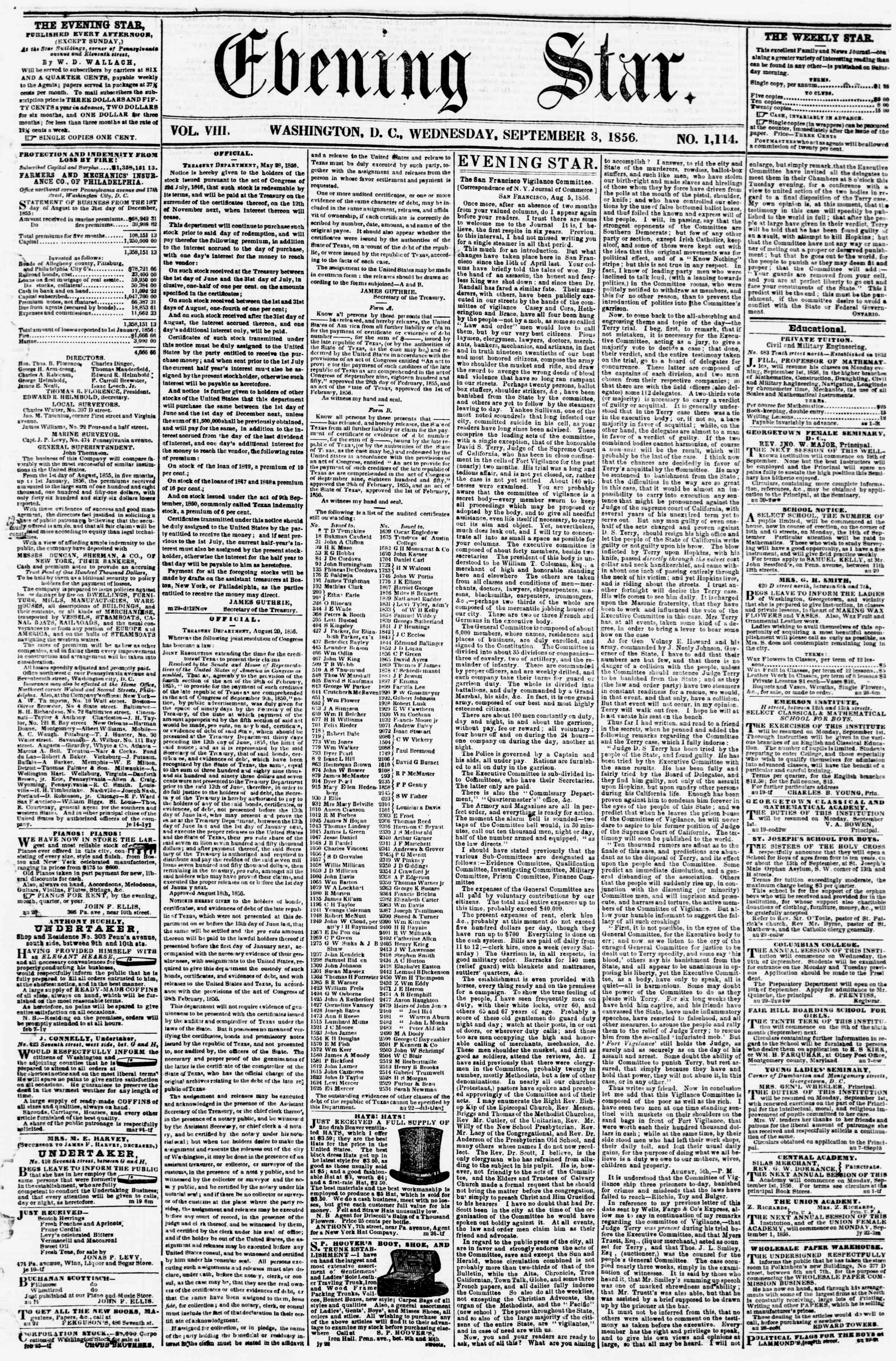 Newspaper of Evening Star dated September 3, 1856 Page 1
