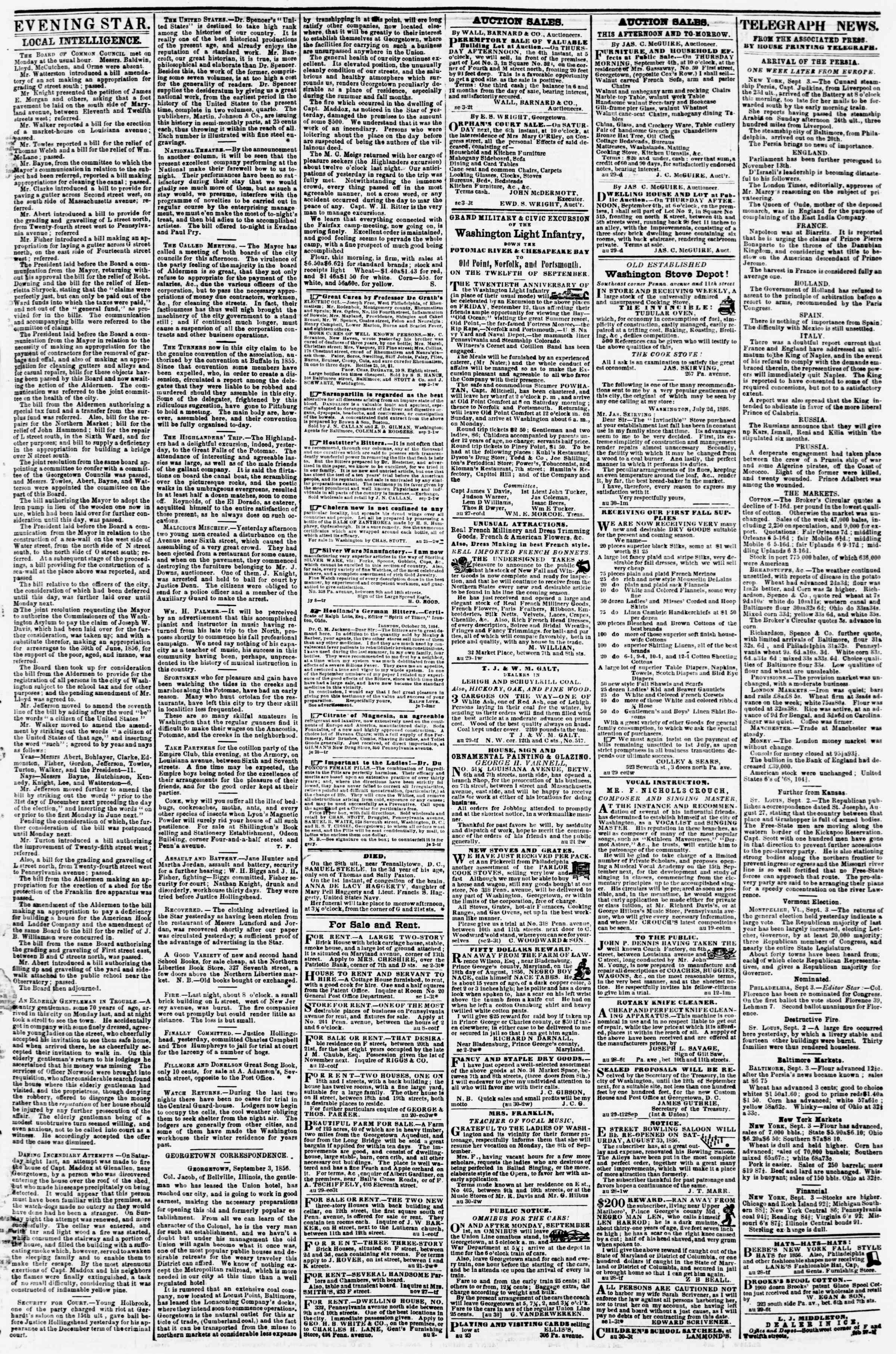 Newspaper of Evening Star dated September 3, 1856 Page 3