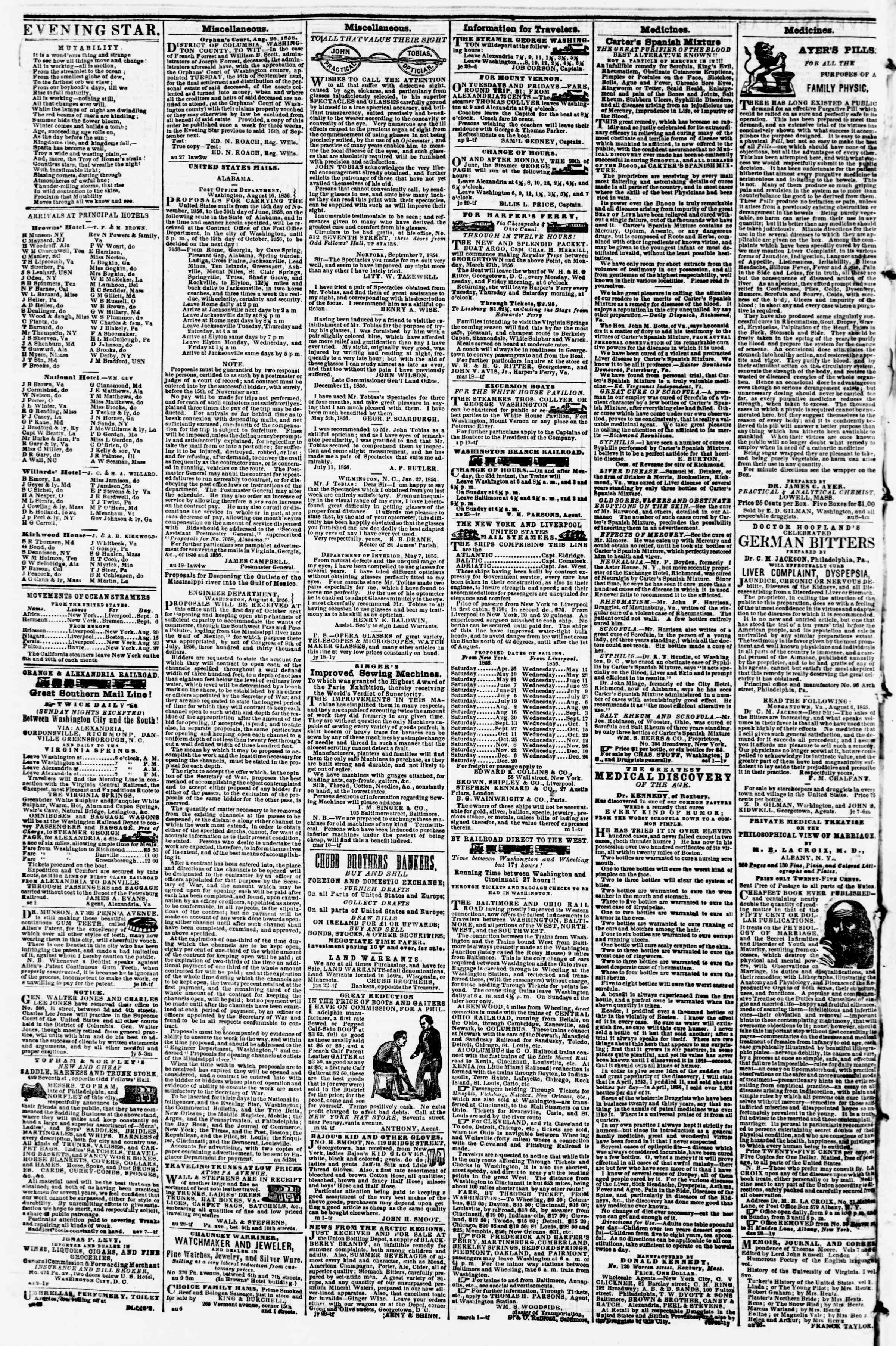 Newspaper of Evening Star dated September 3, 1856 Page 4