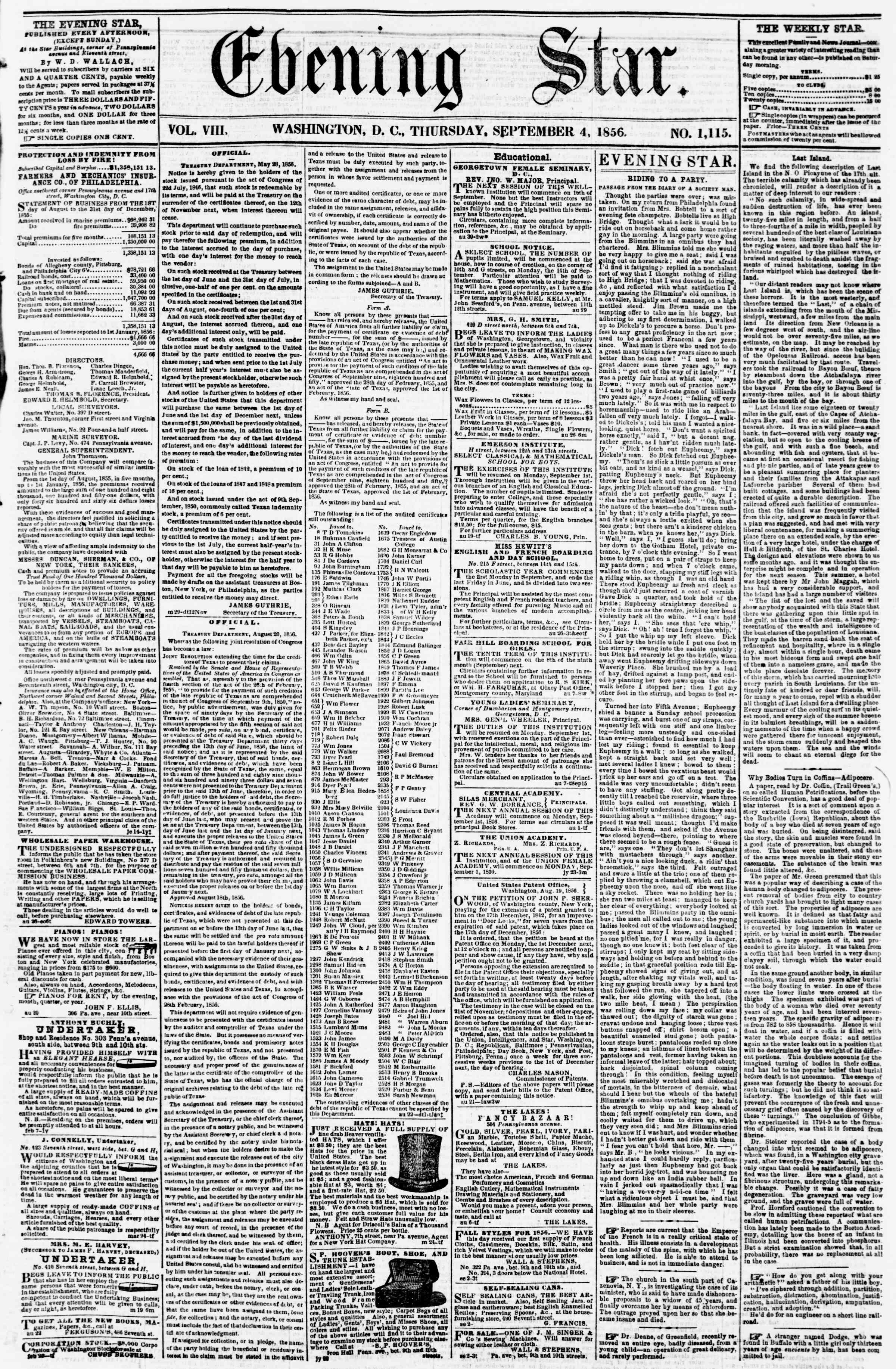 Newspaper of Evening Star dated September 4, 1856 Page 1