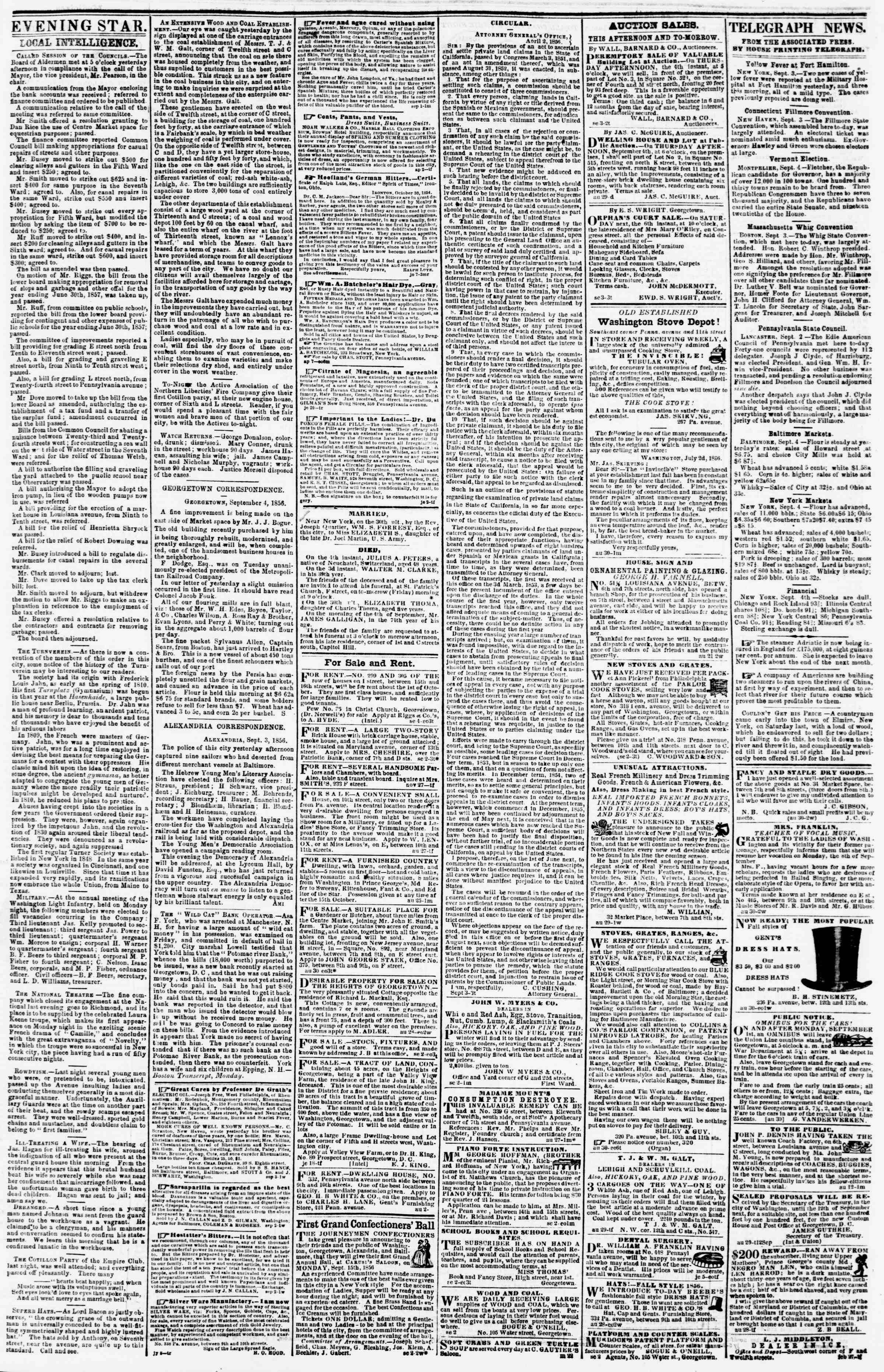 Newspaper of Evening Star dated 4 Eylül 1856 Page 3