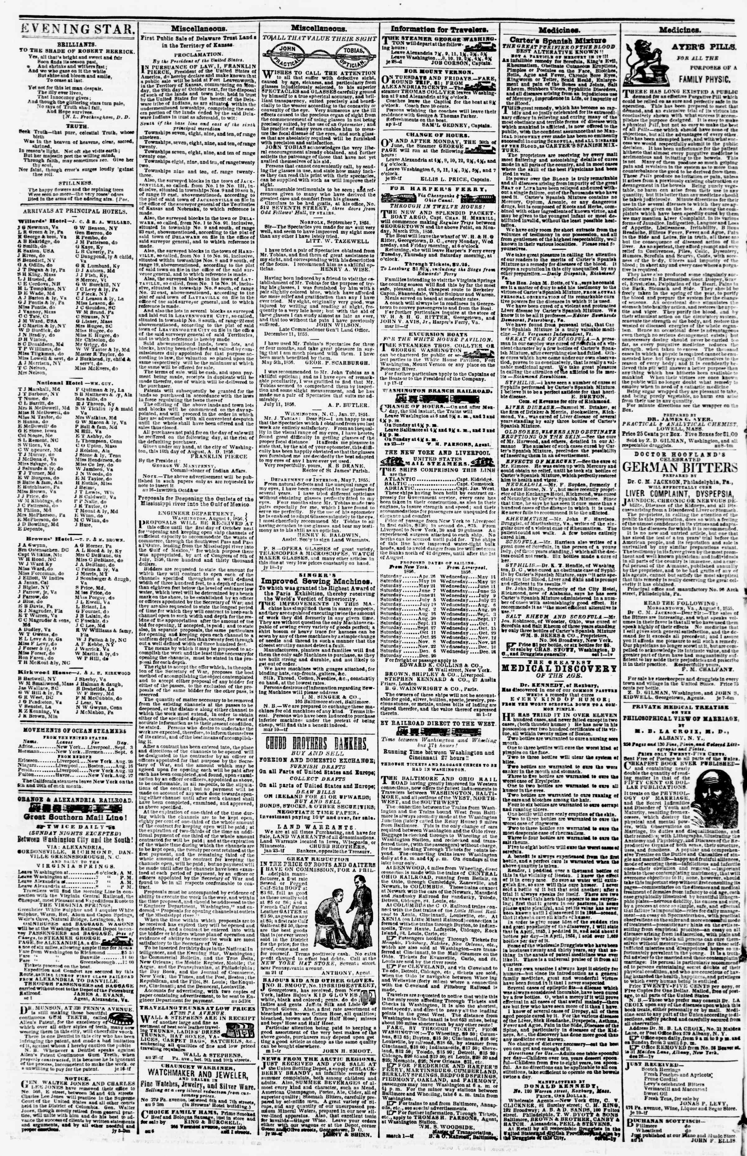Newspaper of Evening Star dated September 4, 1856 Page 4