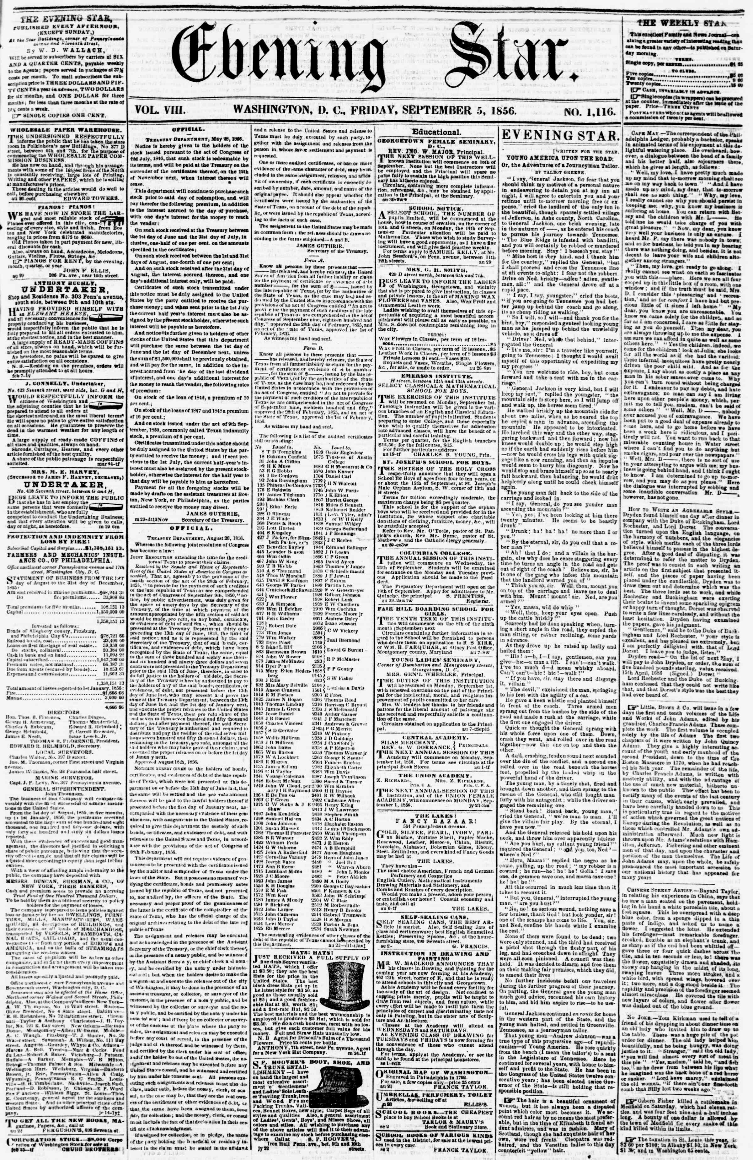 Newspaper of Evening Star dated September 5, 1856 Page 1