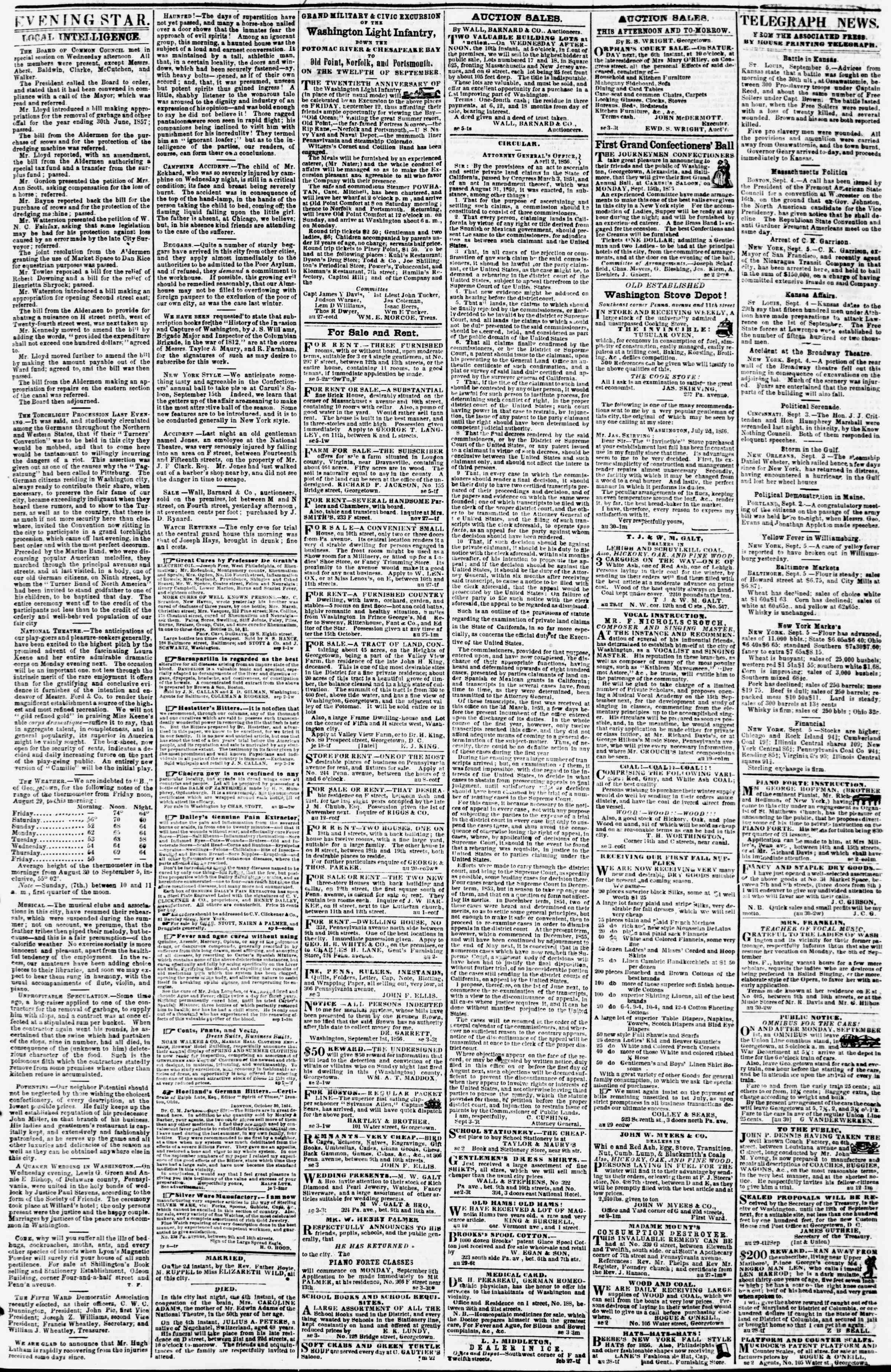 Newspaper of Evening Star dated September 5, 1856 Page 3