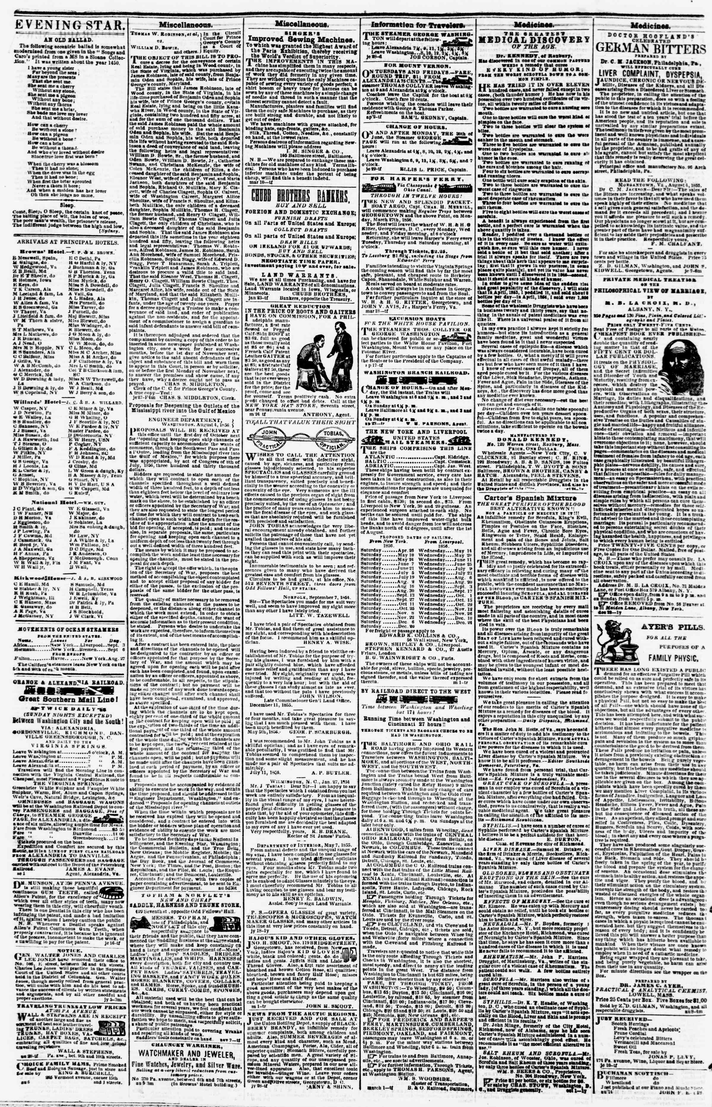 Newspaper of Evening Star dated September 5, 1856 Page 4