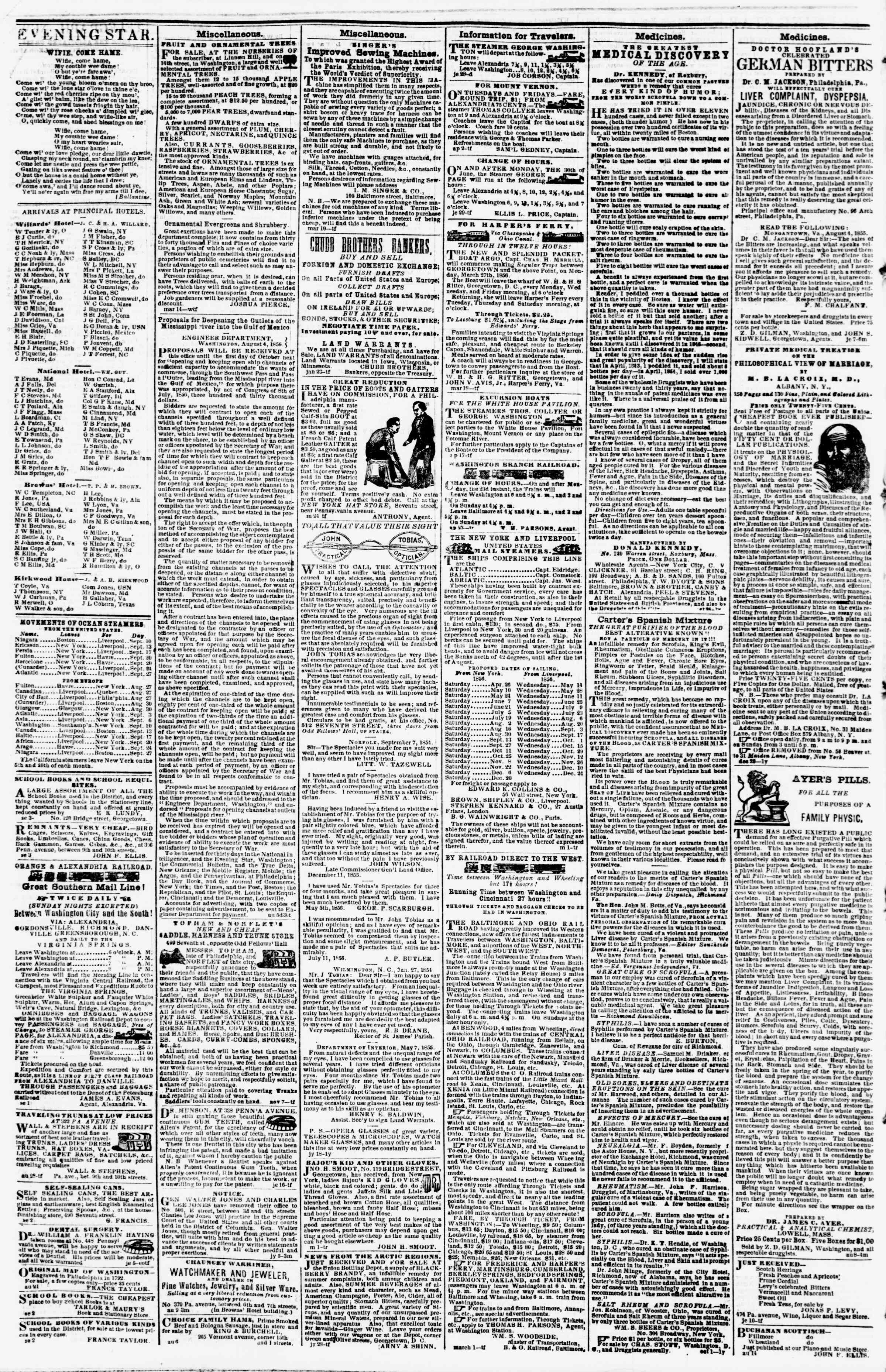 Newspaper of Evening Star dated September 6, 1856 Page 4