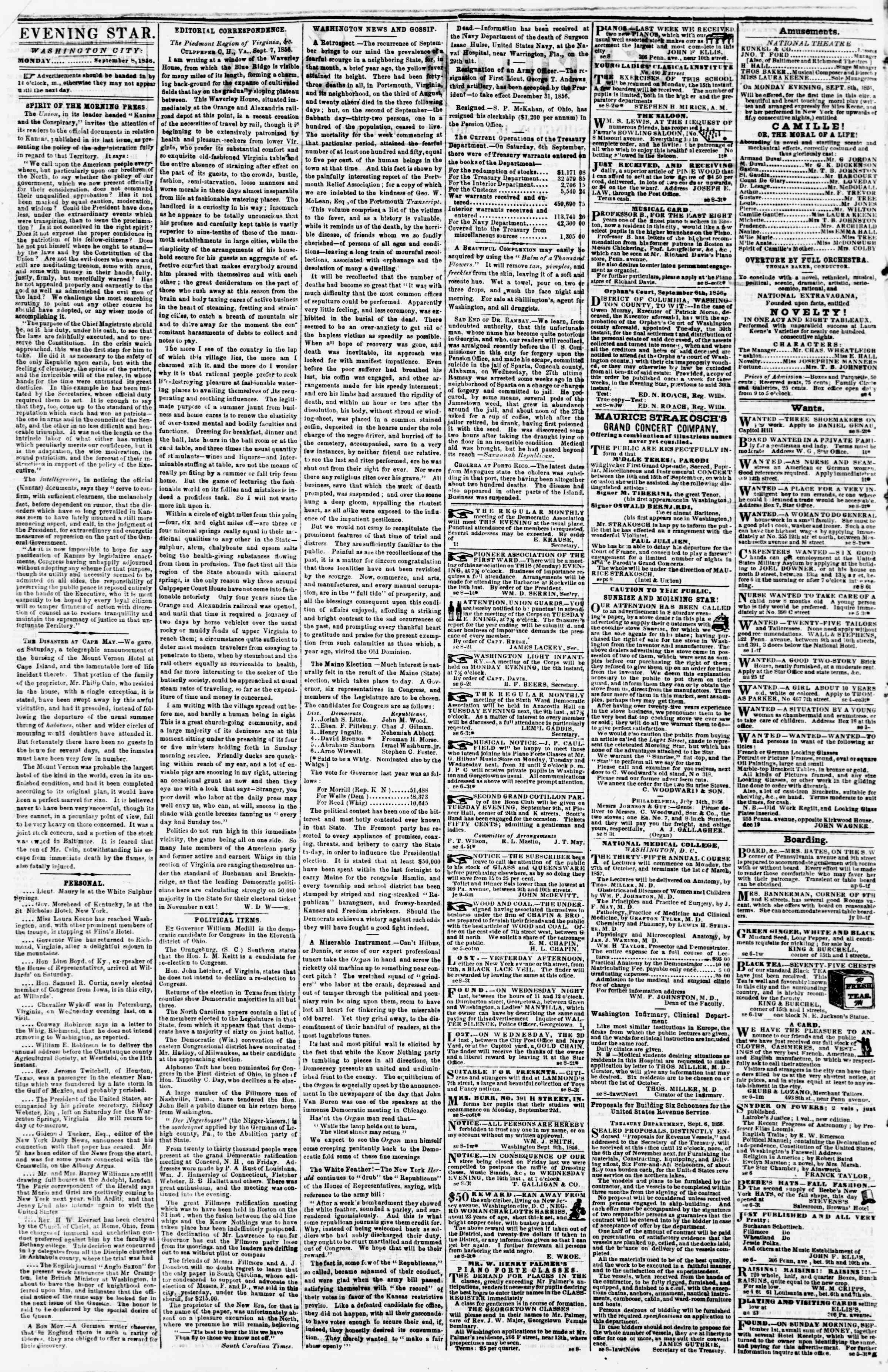 Newspaper of Evening Star dated September 8, 1856 Page 2
