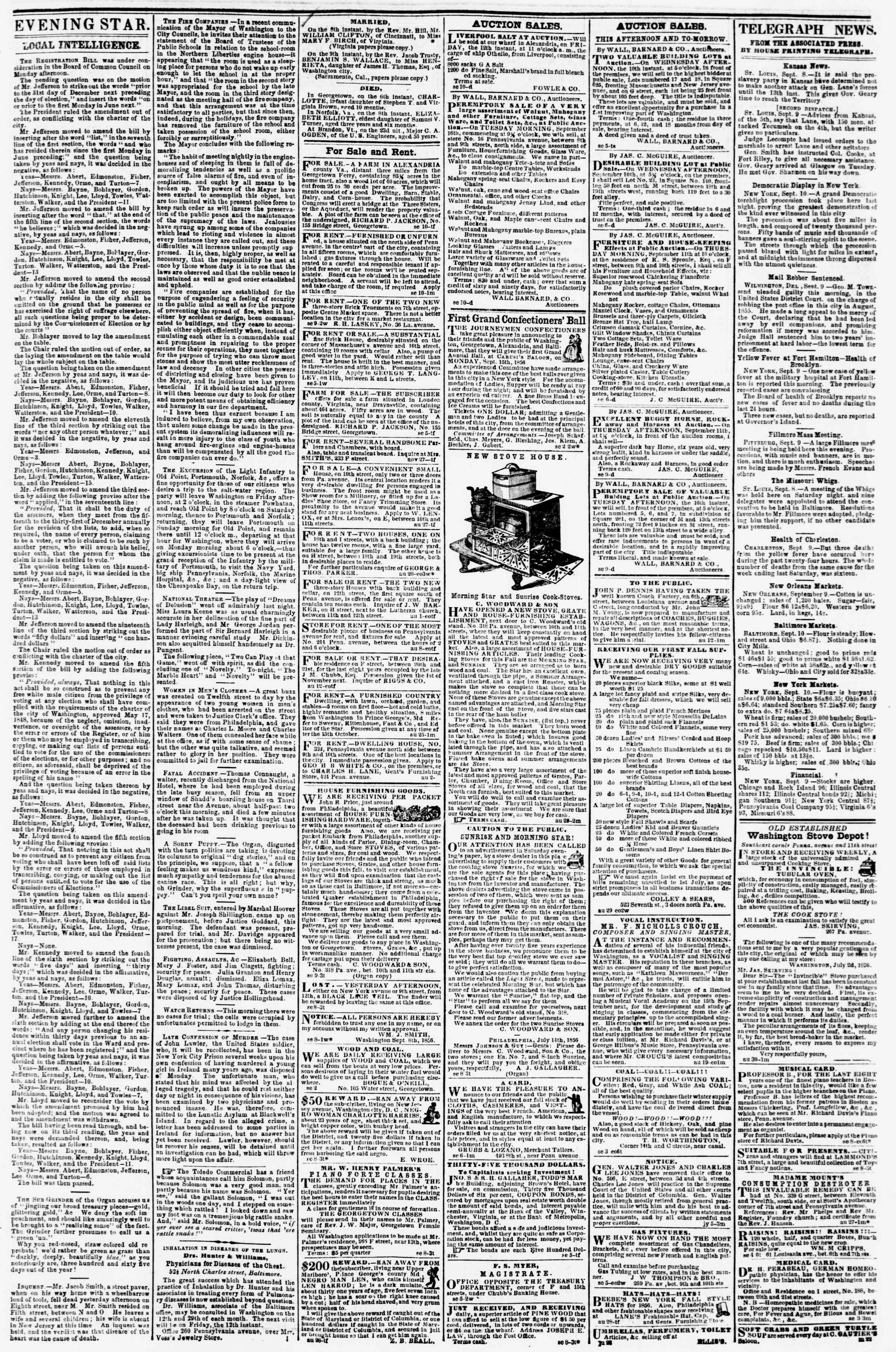 Newspaper of Evening Star dated September 10, 1856 Page 3