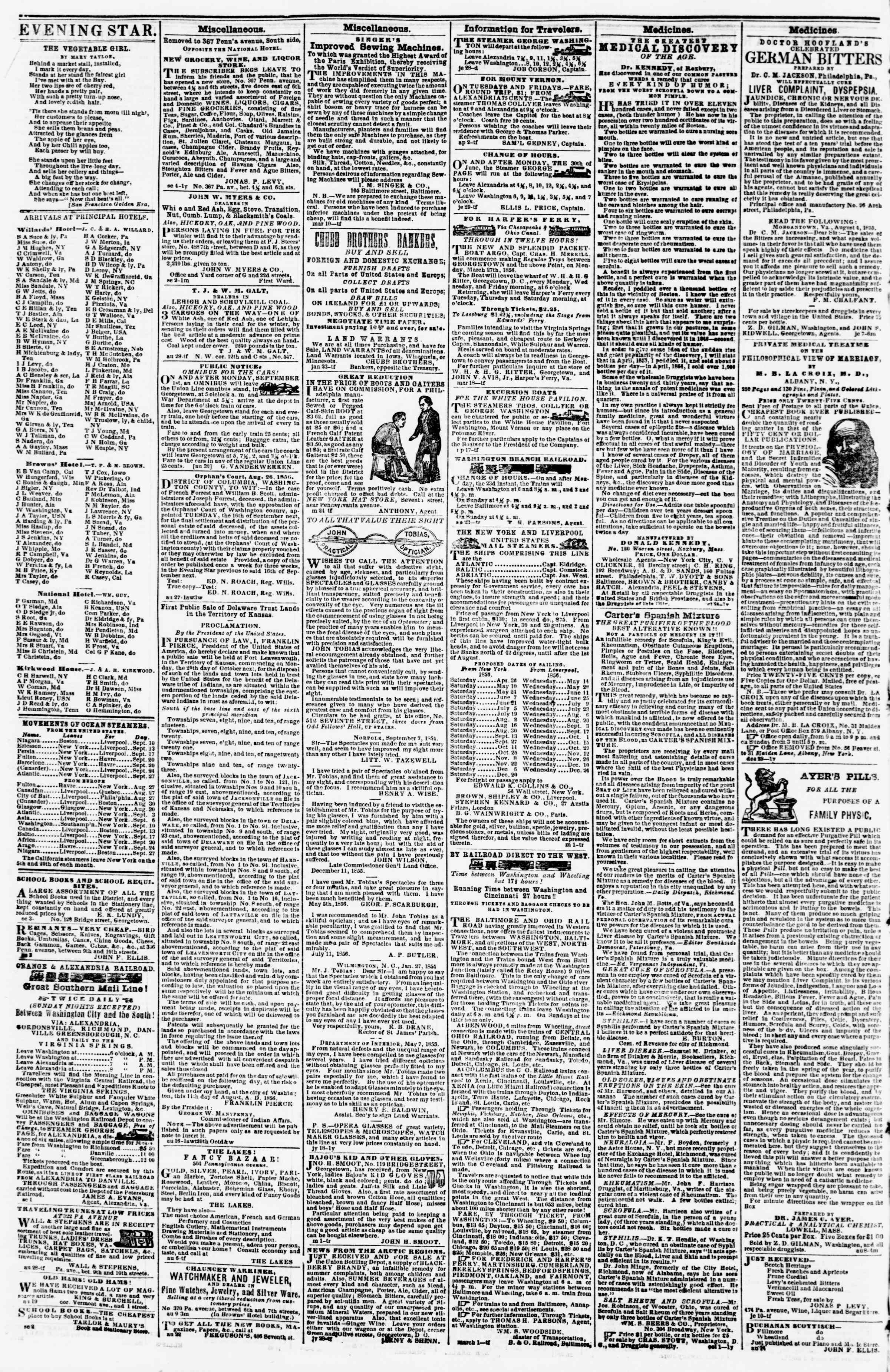Newspaper of Evening Star dated September 10, 1856 Page 4