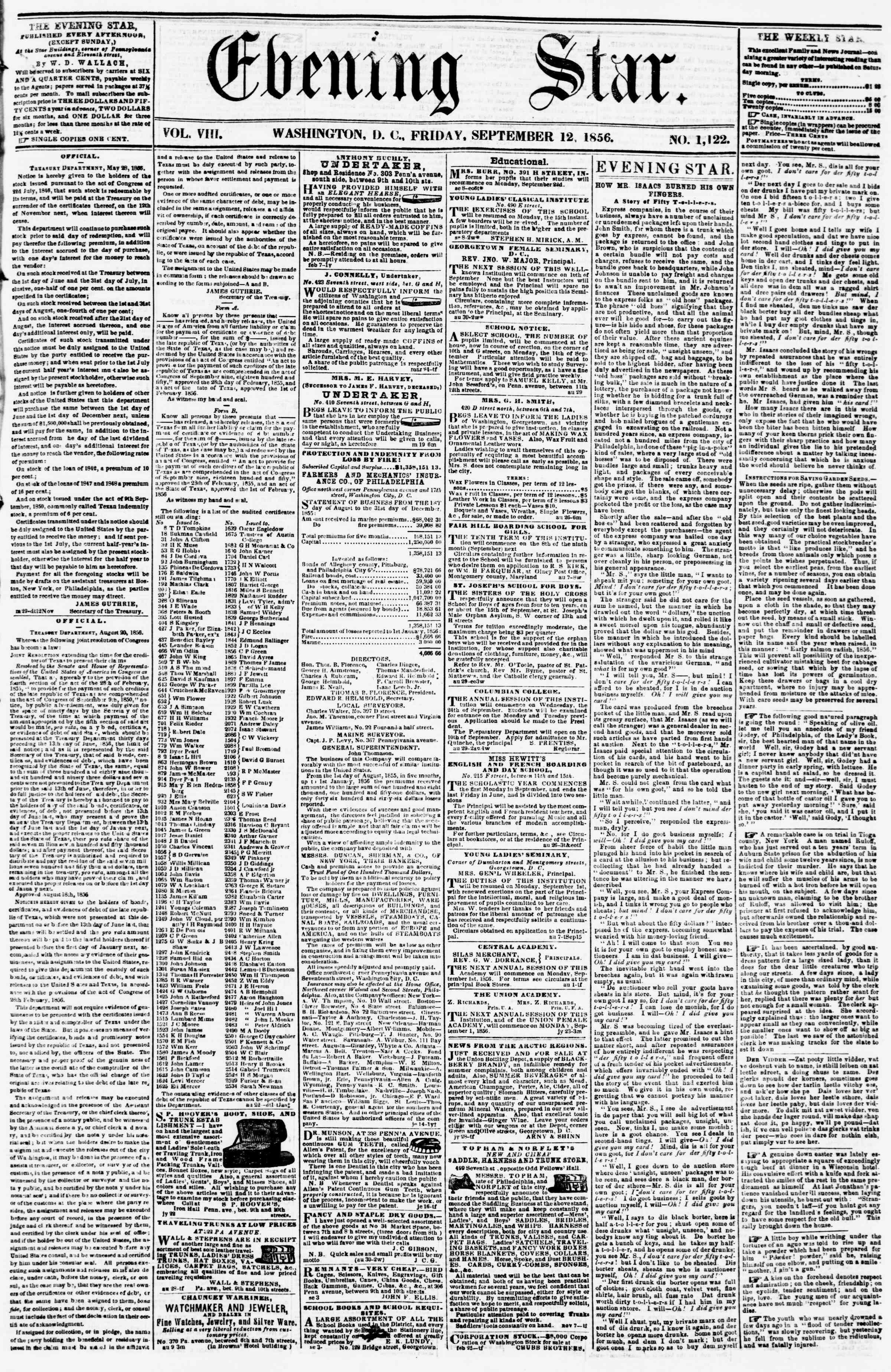 Newspaper of Evening Star dated September 12, 1856 Page 1