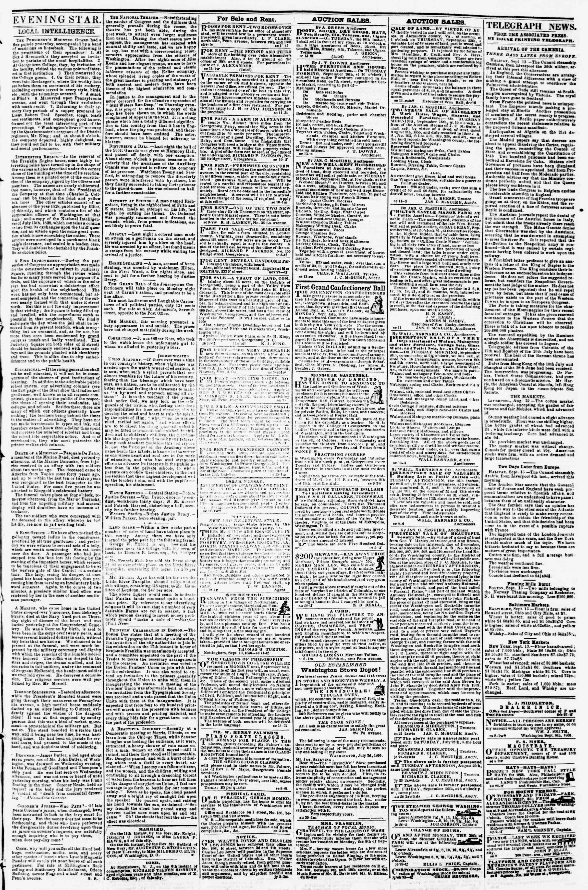 Newspaper of Evening Star dated September 13, 1856 Page 3
