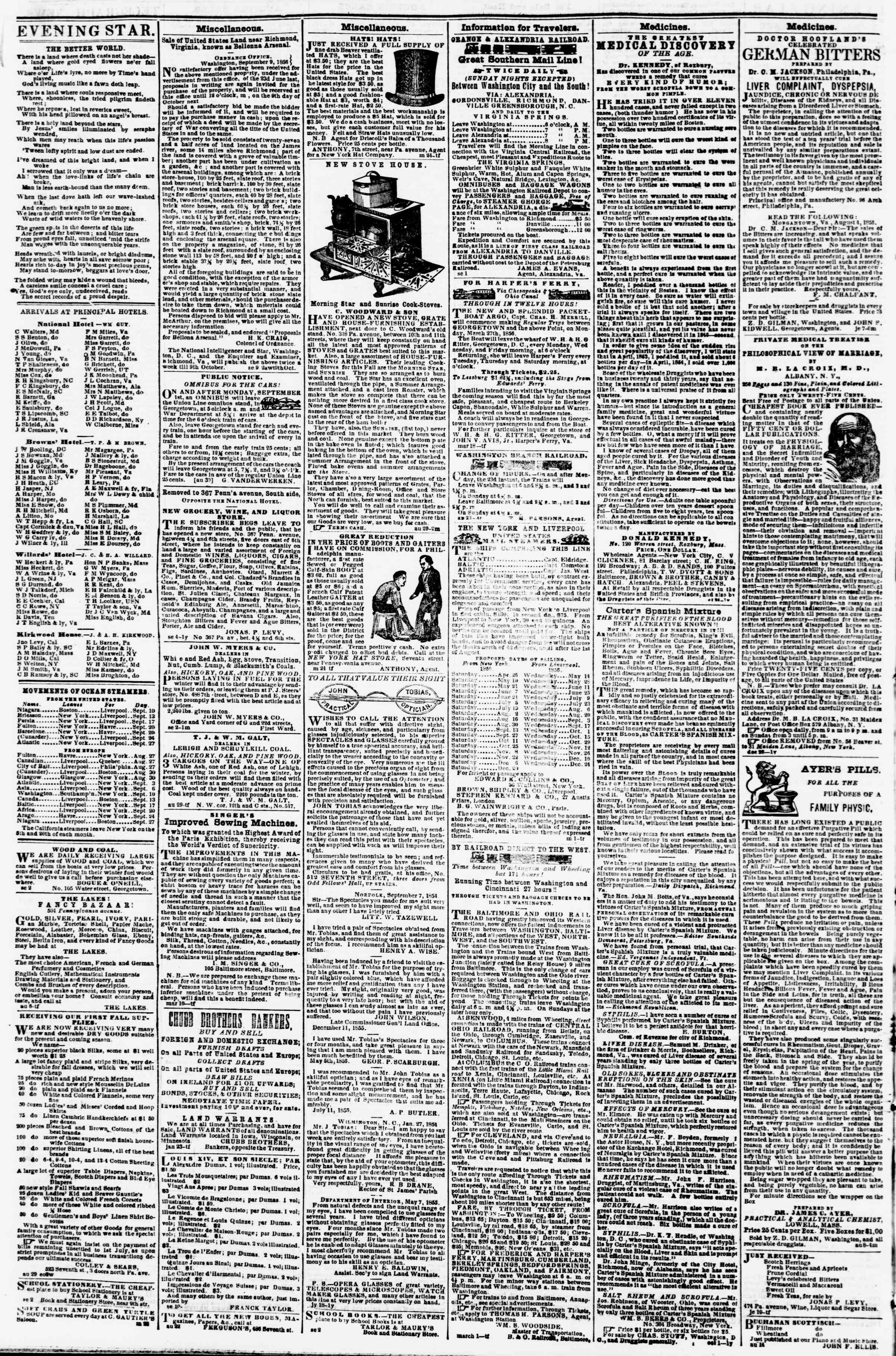 Newspaper of Evening Star dated September 13, 1856 Page 4