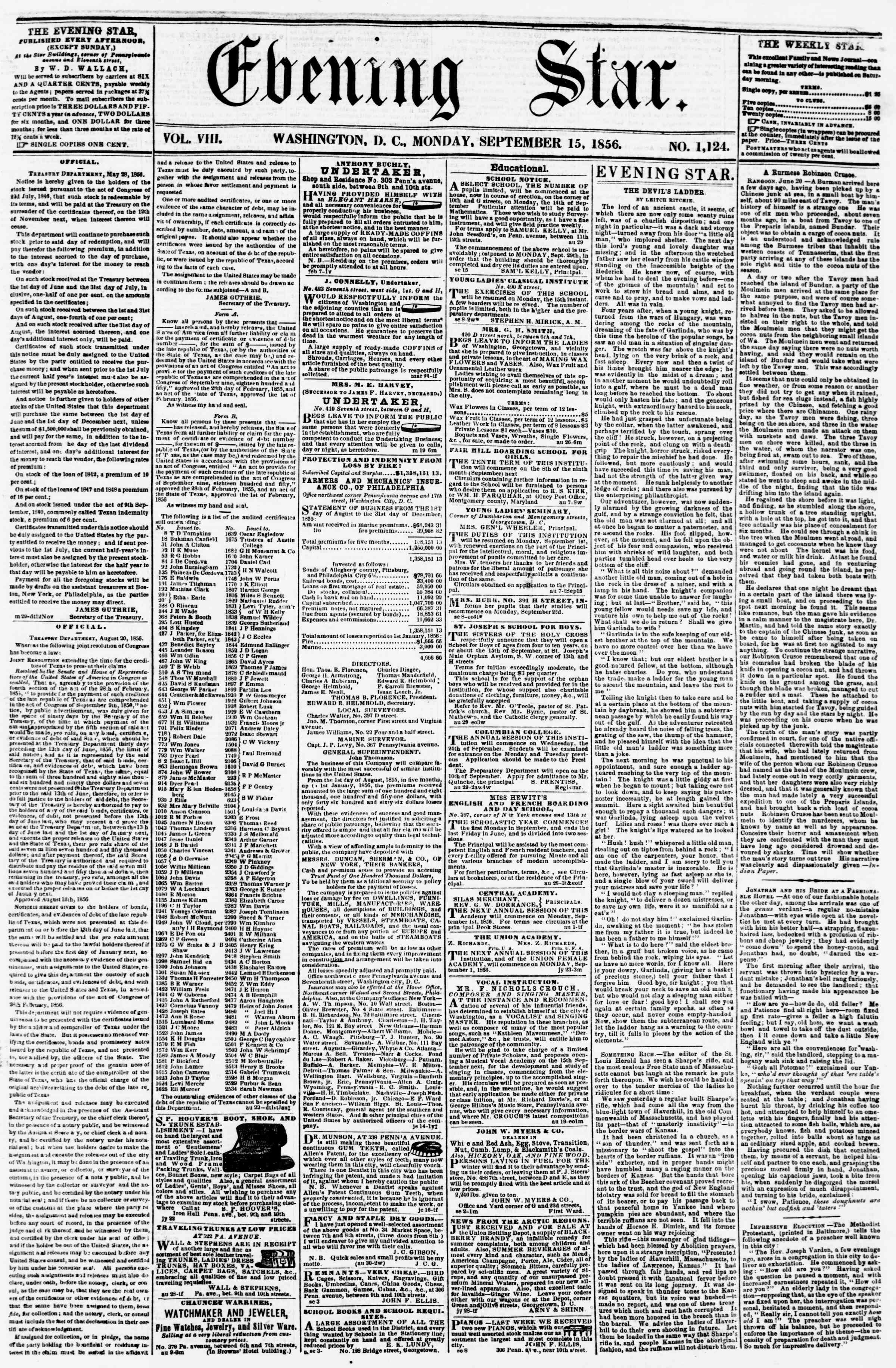 Newspaper of Evening Star dated September 15, 1856 Page 1