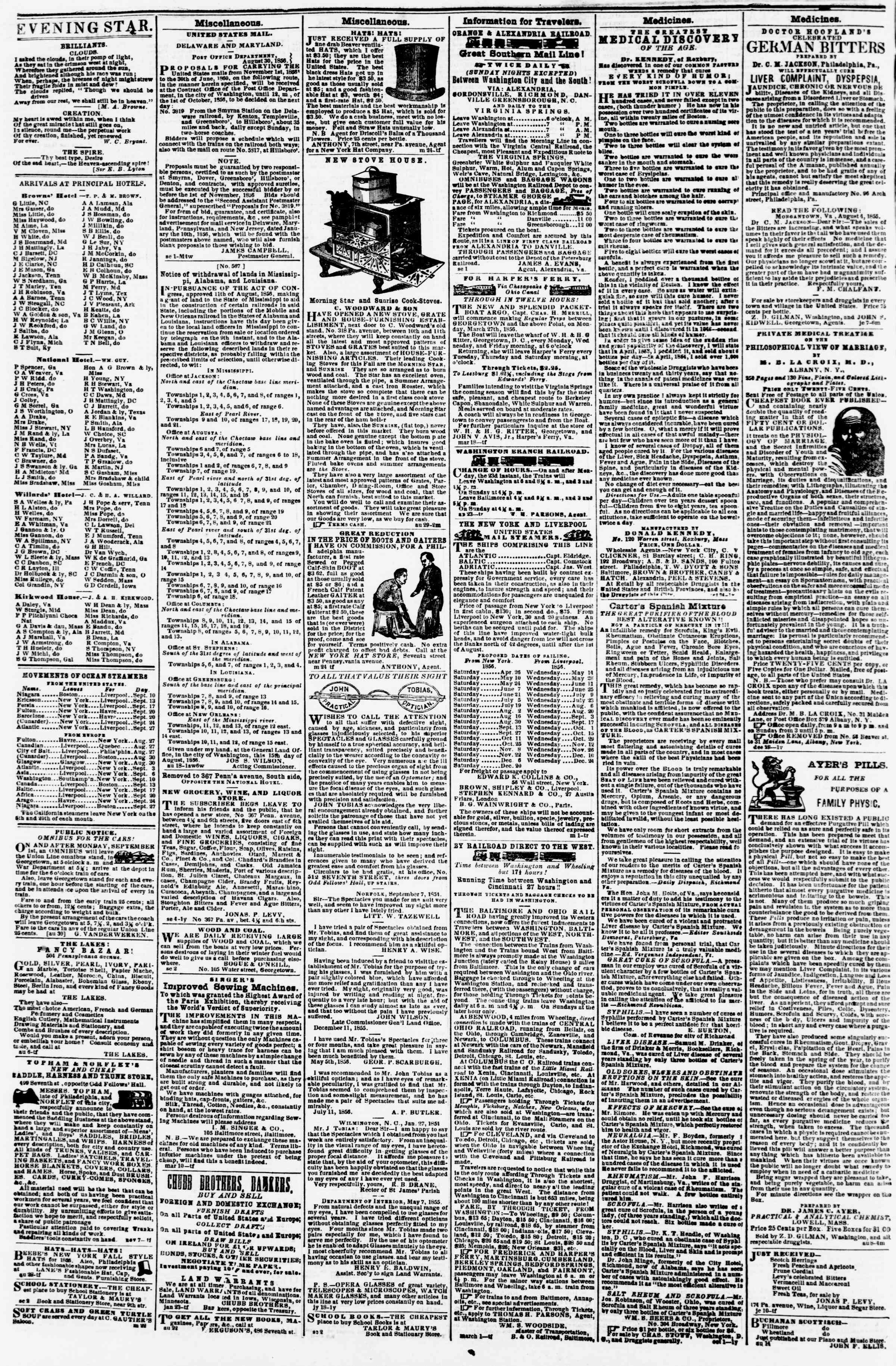 Newspaper of Evening Star dated September 15, 1856 Page 4