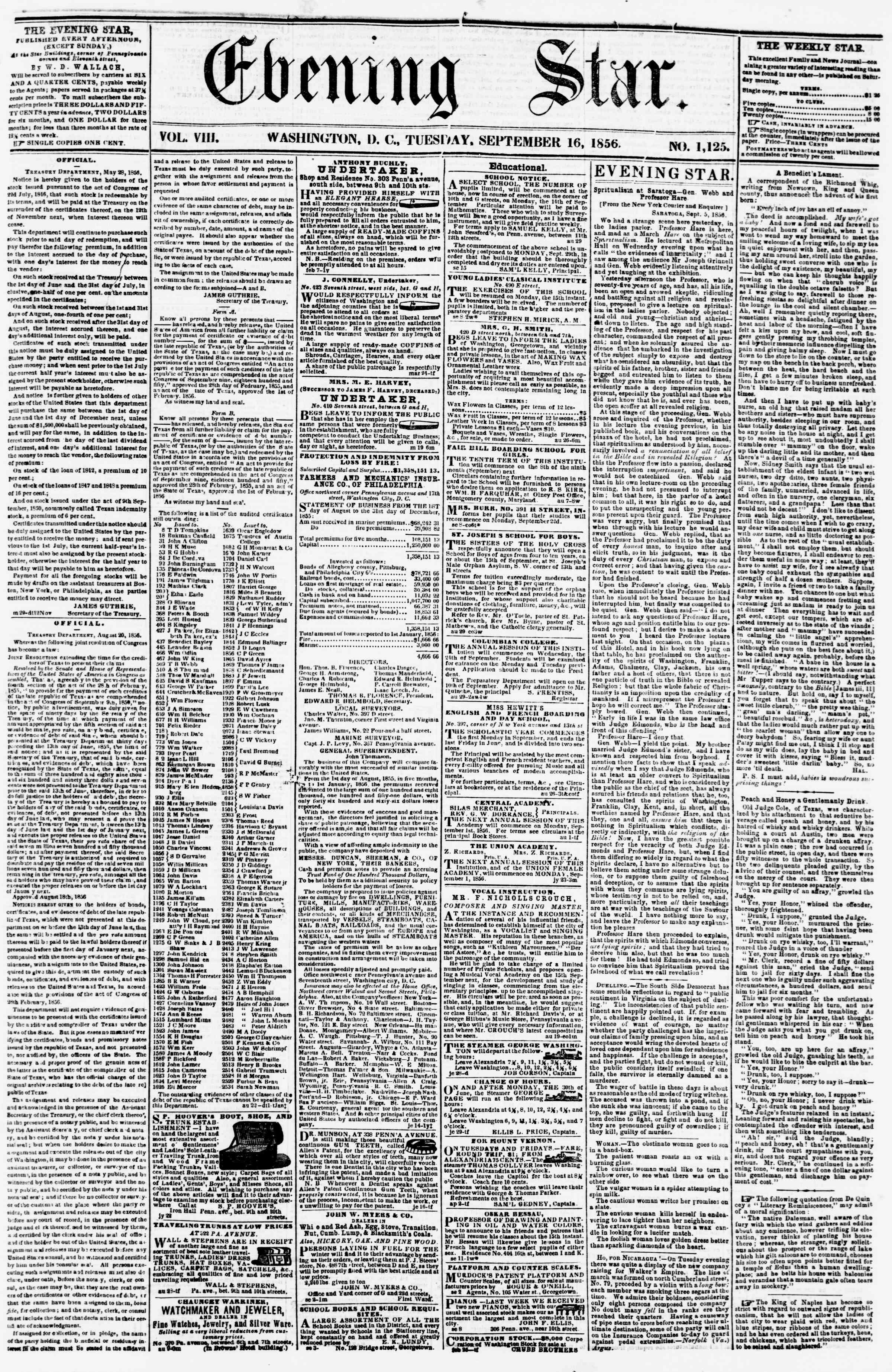 Newspaper of Evening Star dated September 16, 1856 Page 1