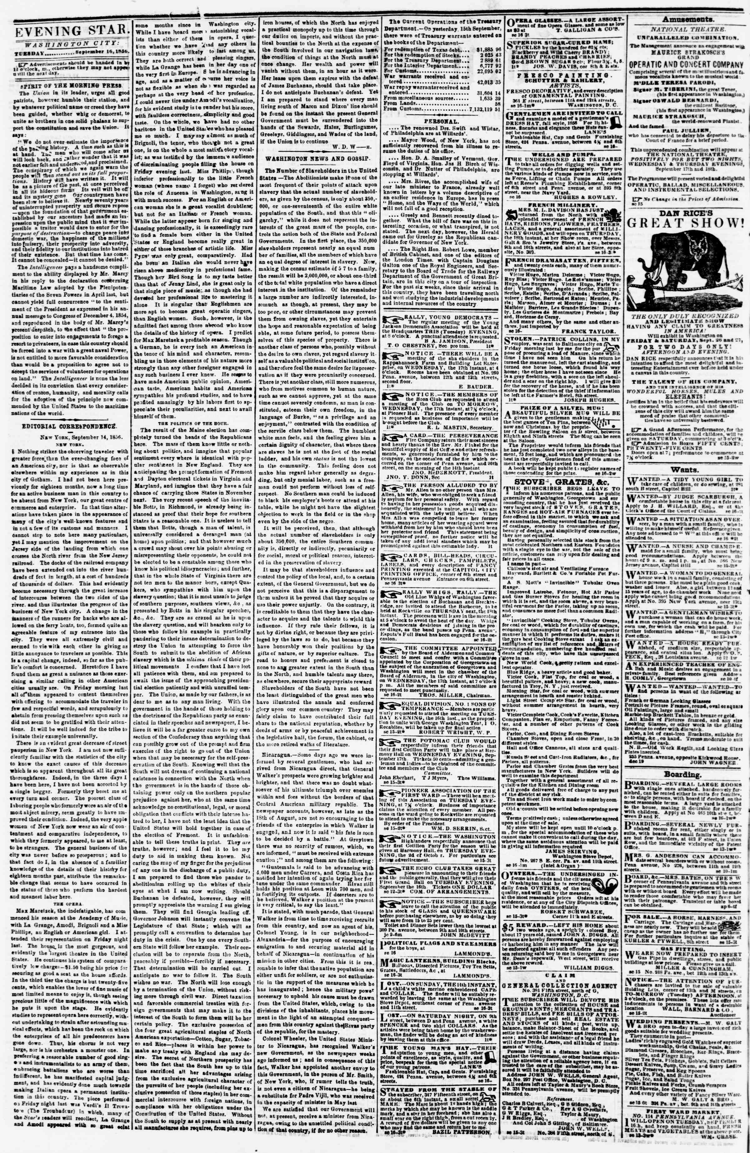 Newspaper of Evening Star dated September 16, 1856 Page 2