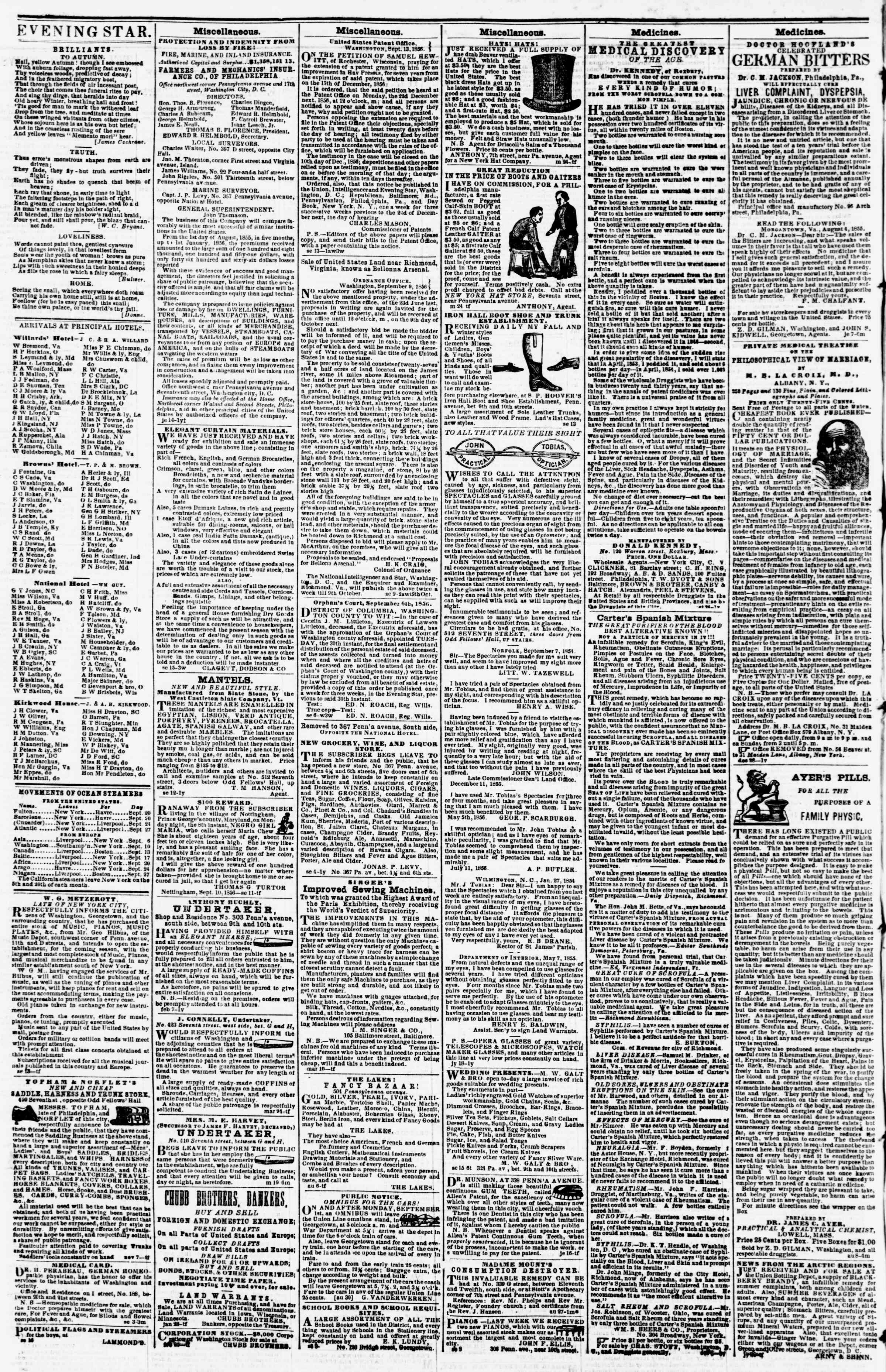 Newspaper of Evening Star dated September 20, 1856 Page 4