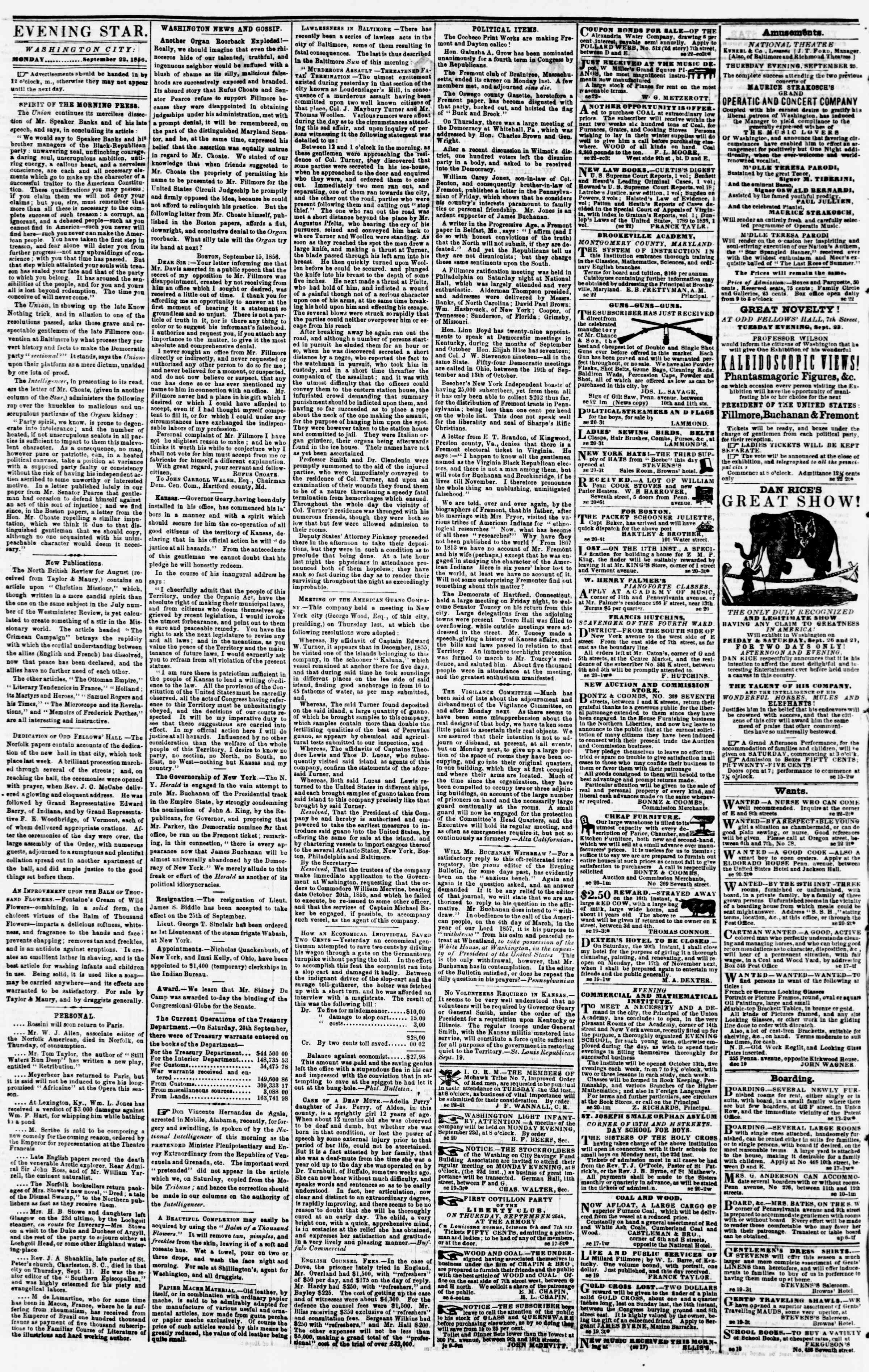 Newspaper of Evening Star dated September 22, 1856 Page 2
