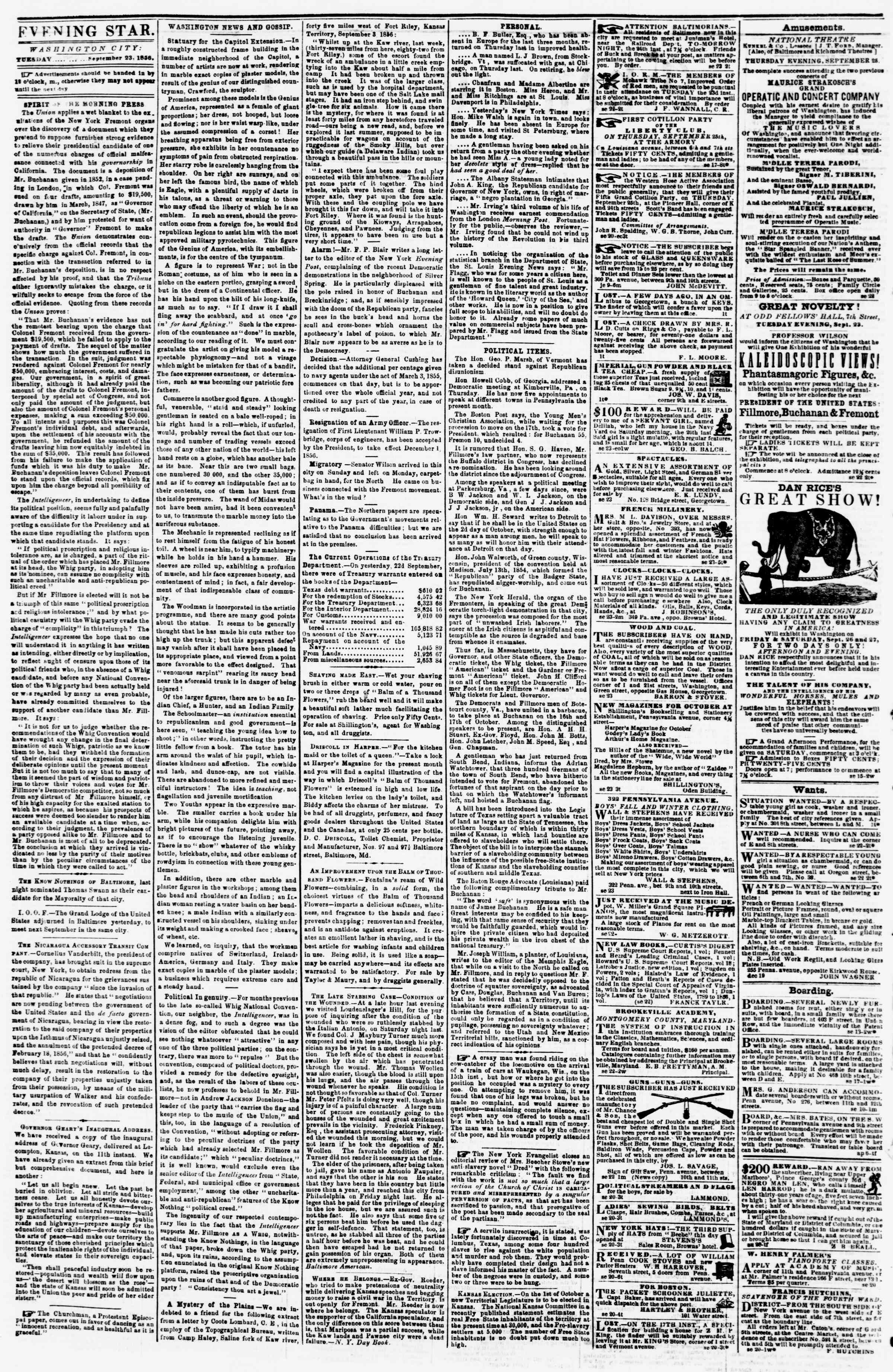 Newspaper of Evening Star dated September 23, 1856 Page 2