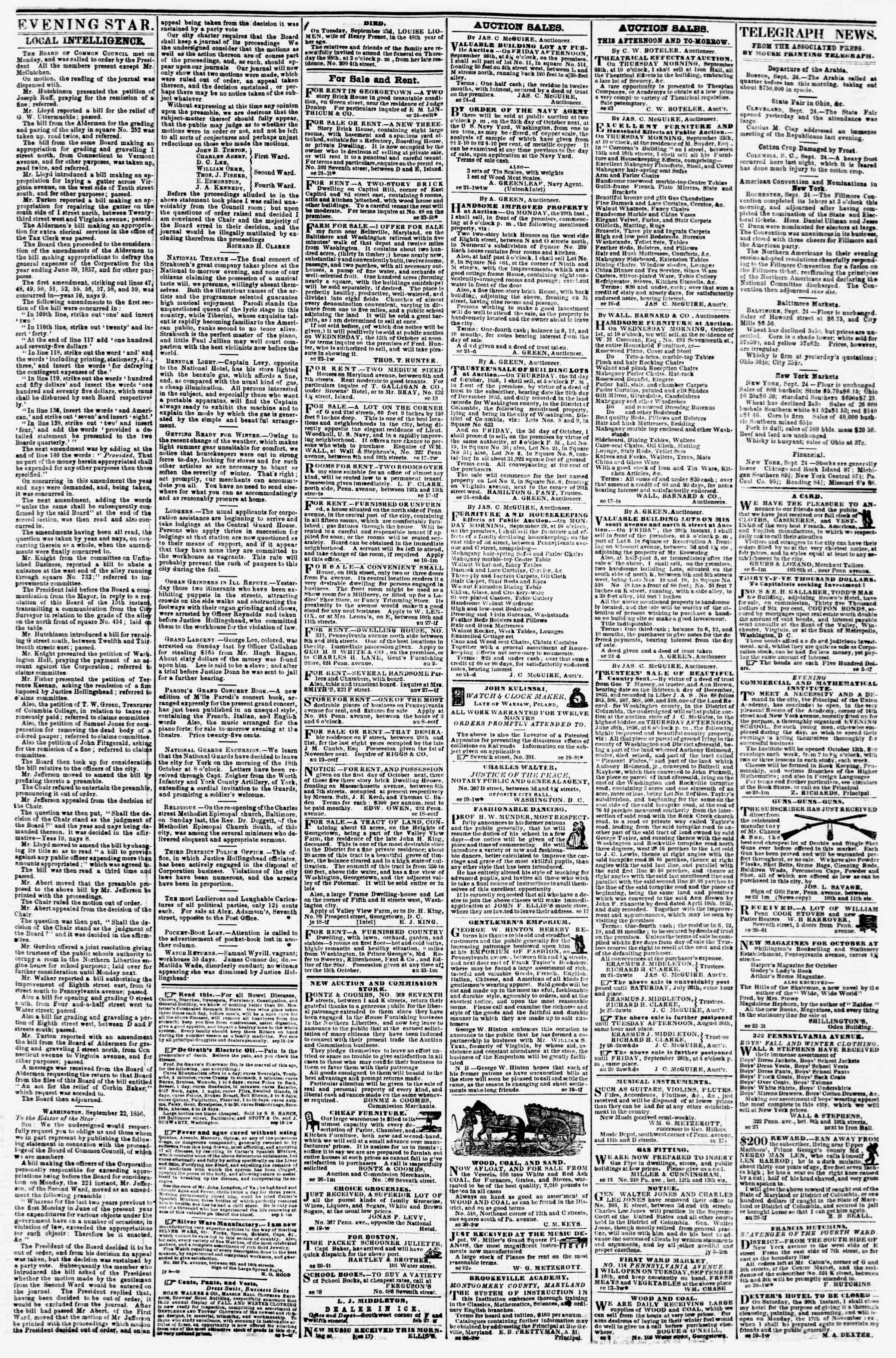 Newspaper of Evening Star dated September 24, 1856 Page 3