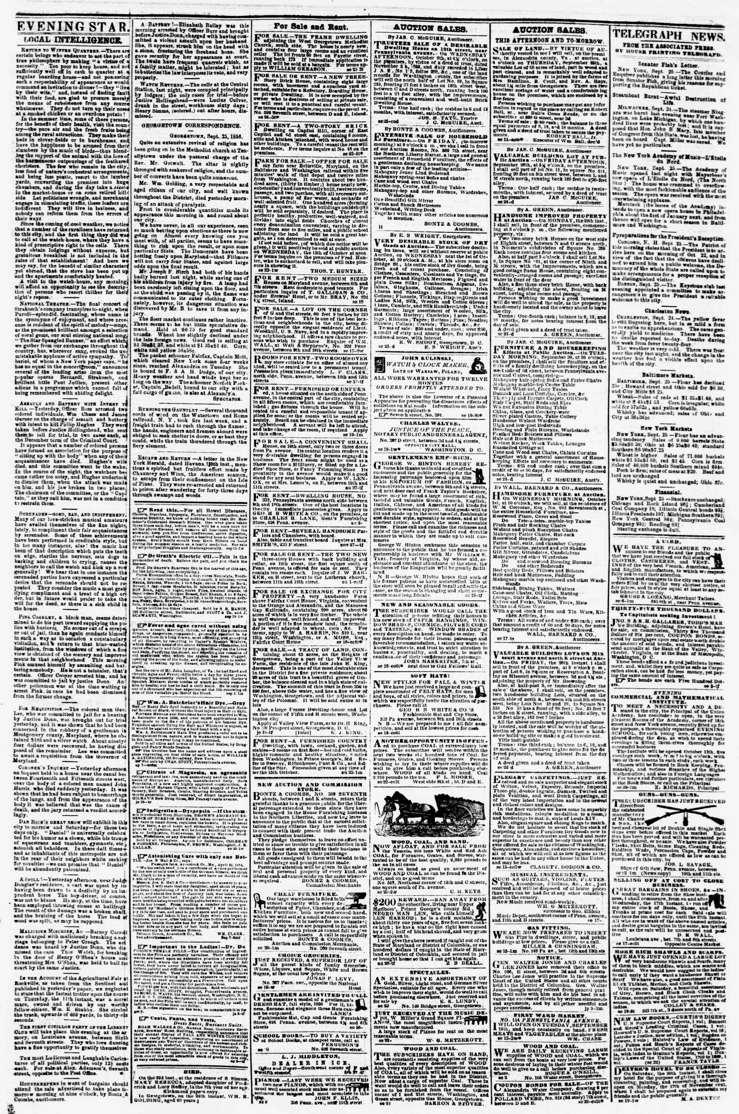 Newspaper of Evening Star dated September 25, 1856 Page 3