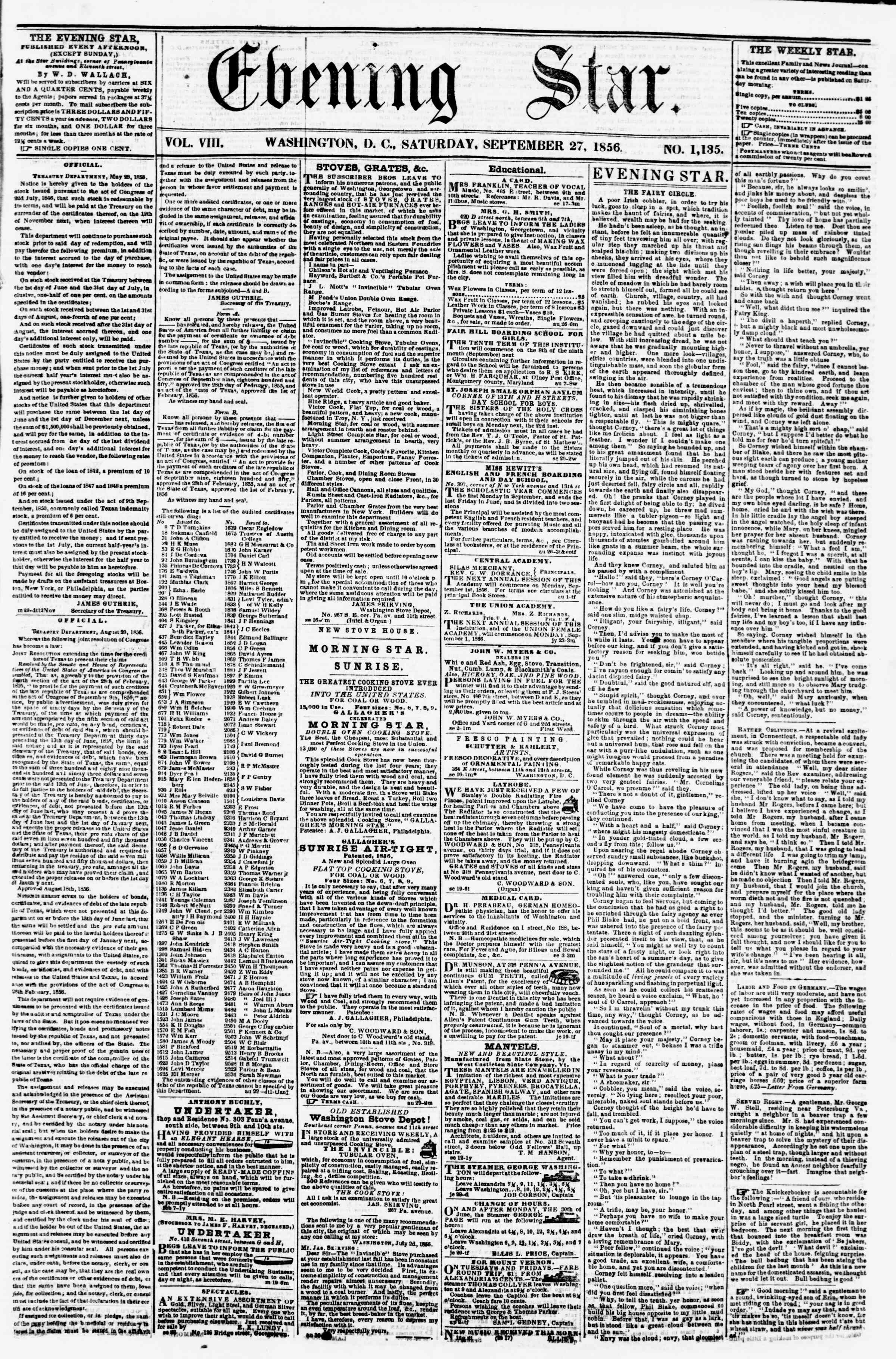 Newspaper of Evening Star dated September 27, 1856 Page 1