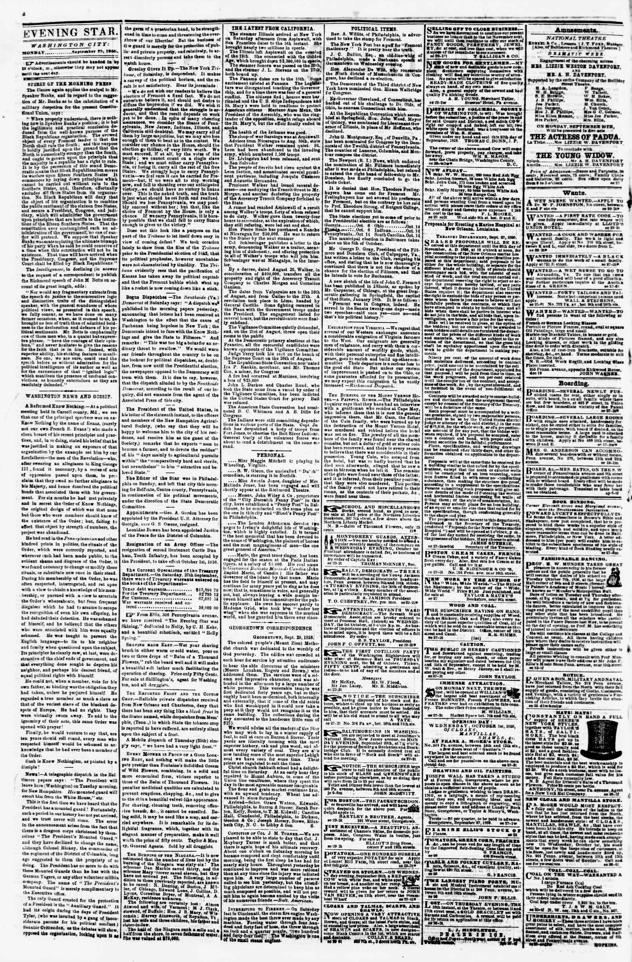 Newspaper of Evening Star dated September 29, 1856 Page 2