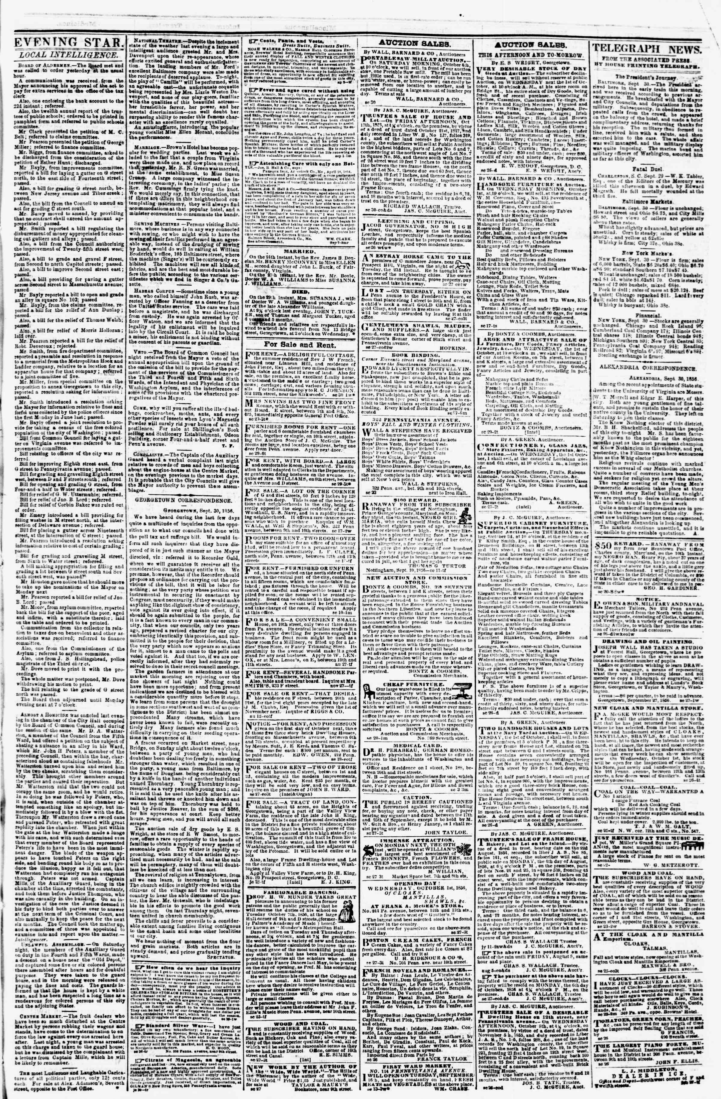 Newspaper of Evening Star dated September 30, 1856 Page 3