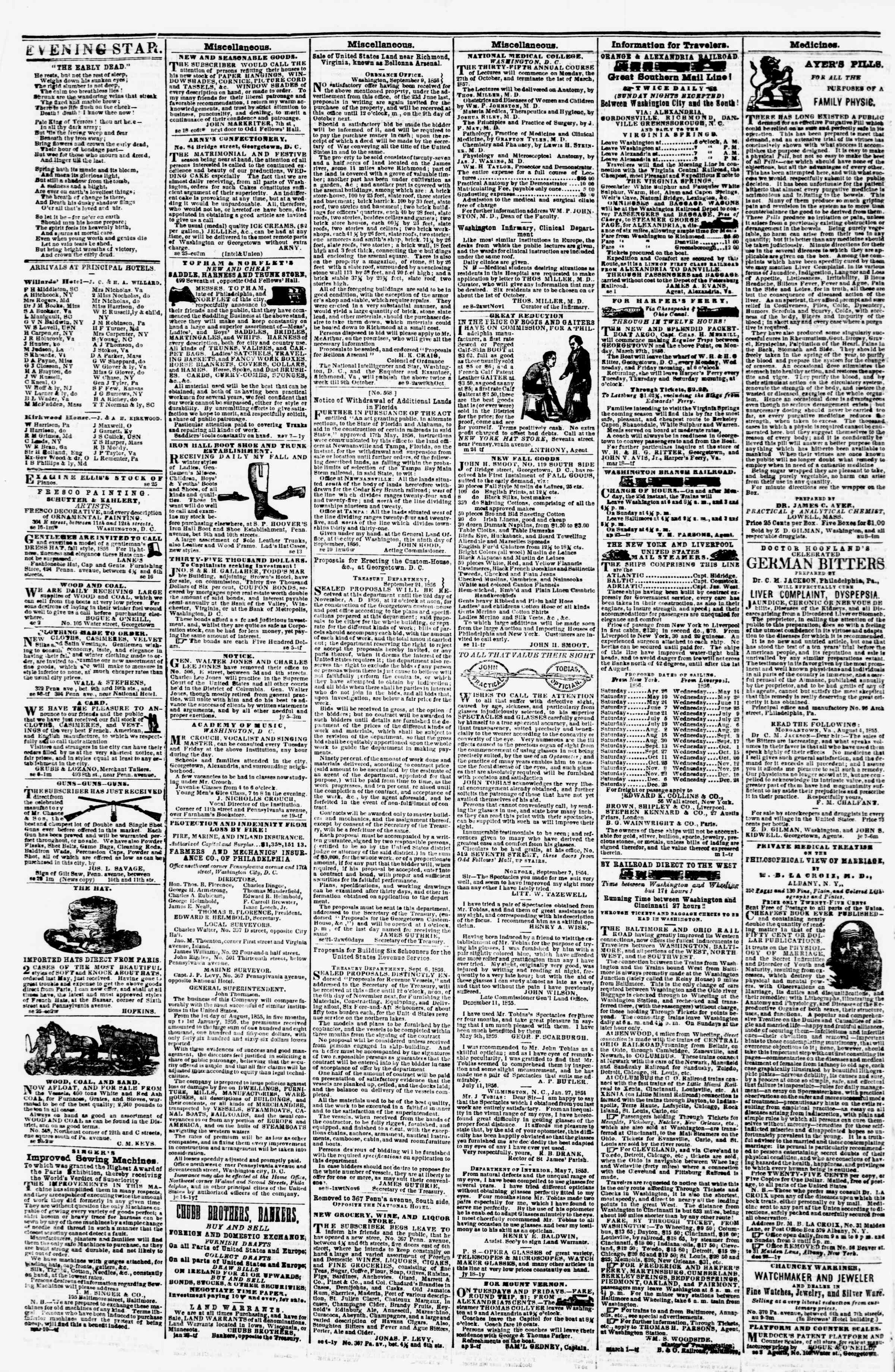 Newspaper of Evening Star dated September 30, 1856 Page 4