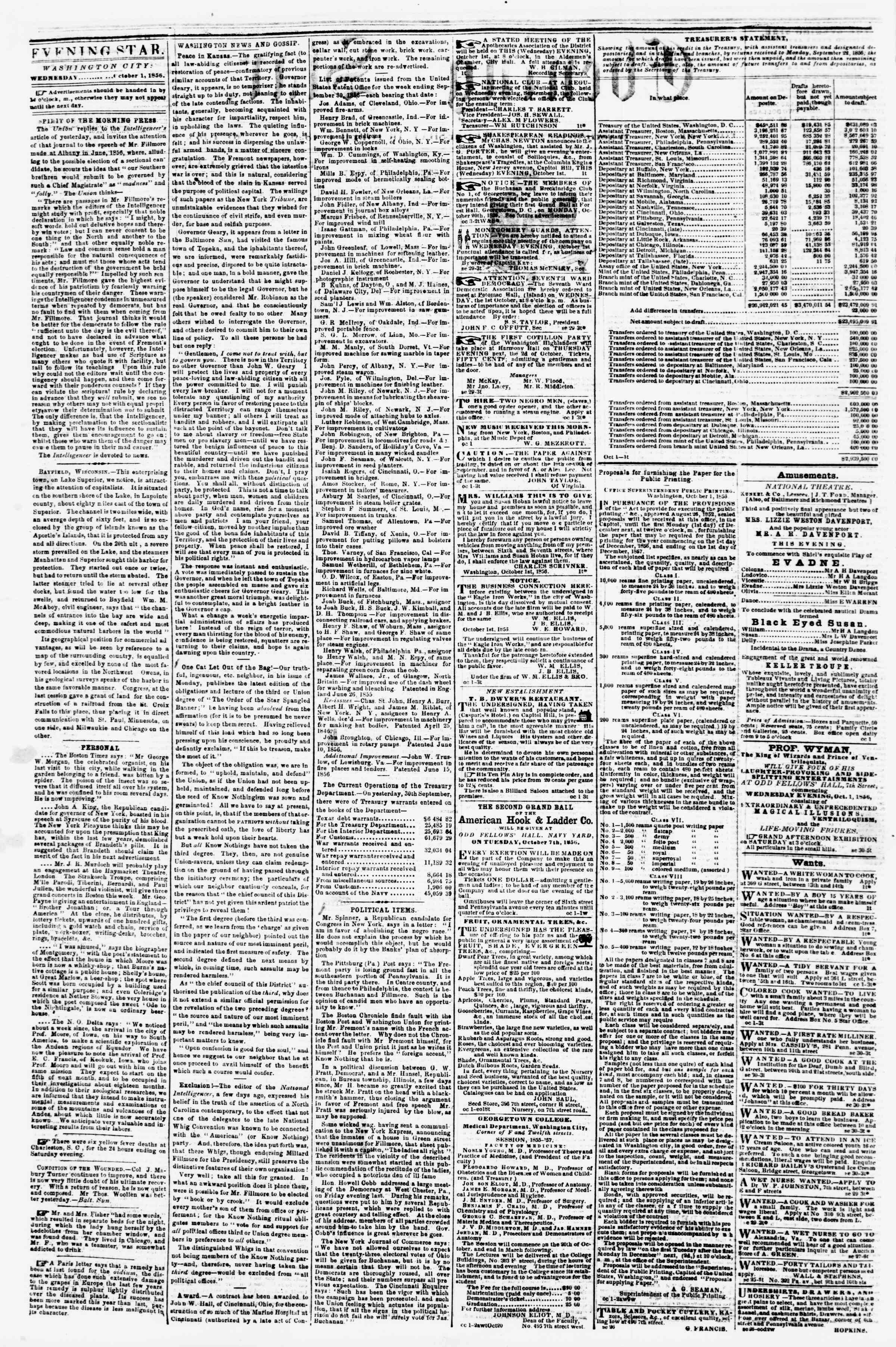 Newspaper of Evening Star dated October 1, 1856 Page 2
