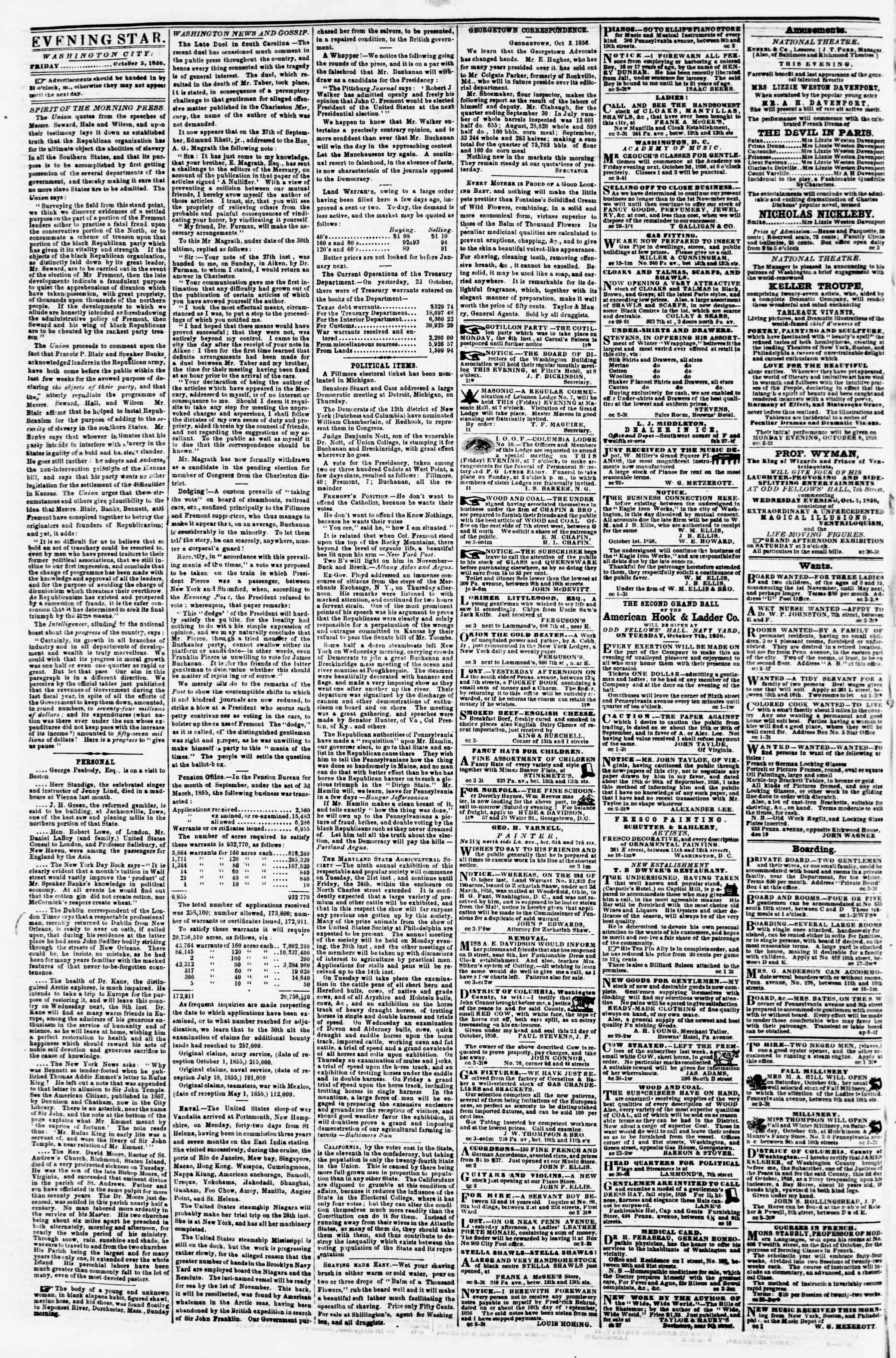 Newspaper of Evening Star dated October 3, 1856 Page 2
