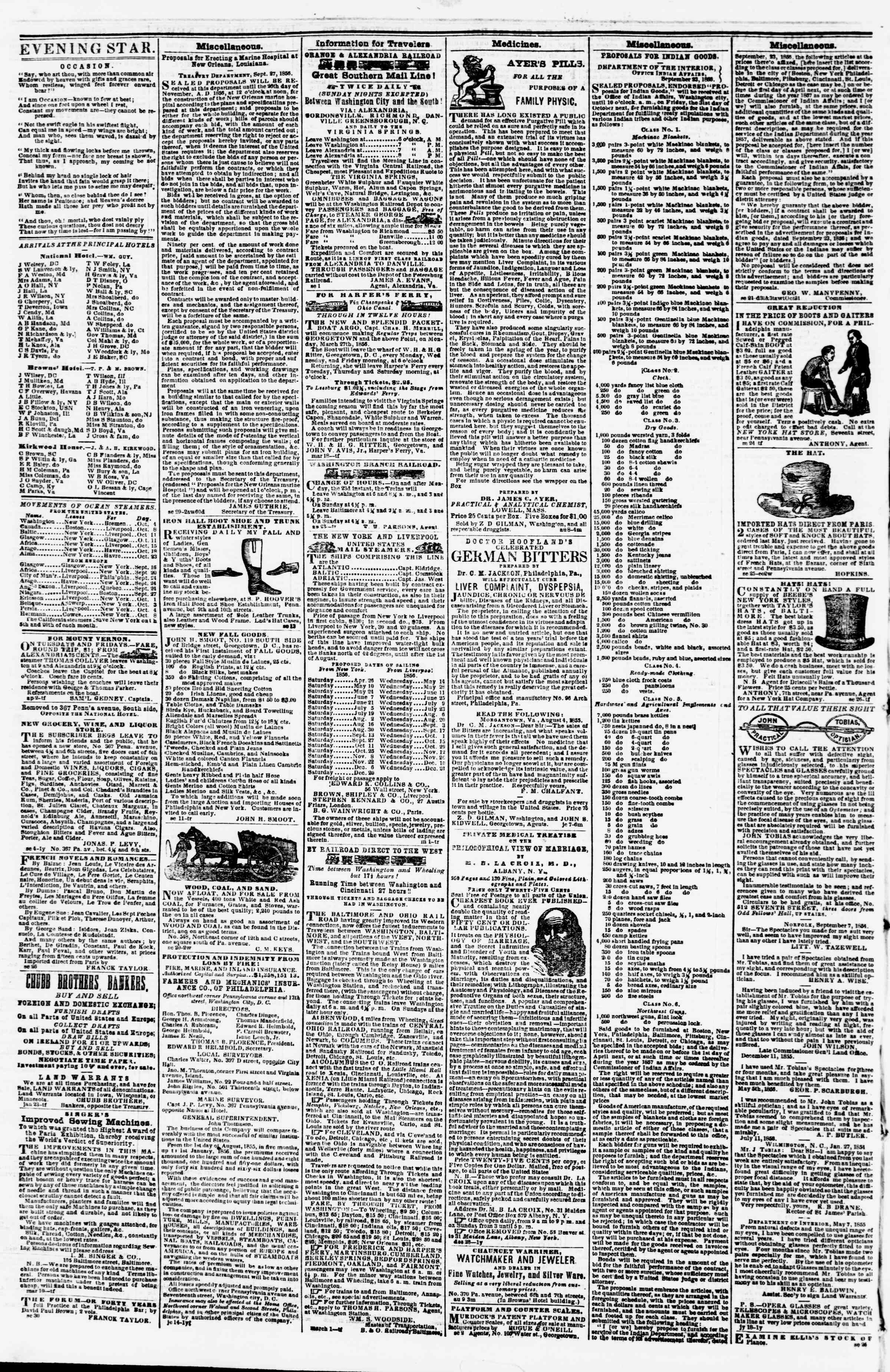 Newspaper of Evening Star dated October 3, 1856 Page 4