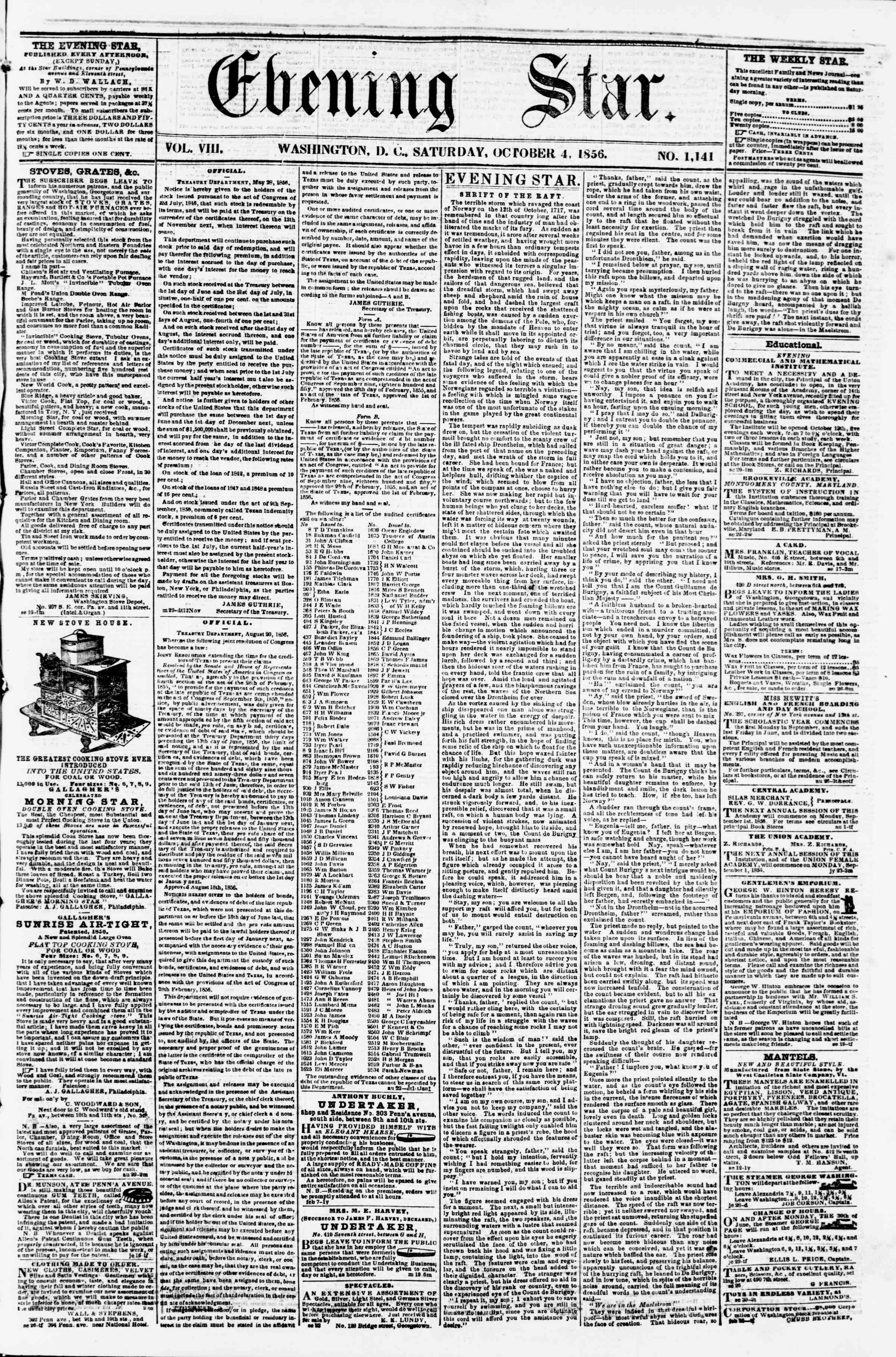 Newspaper of Evening Star dated October 4, 1856 Page 1