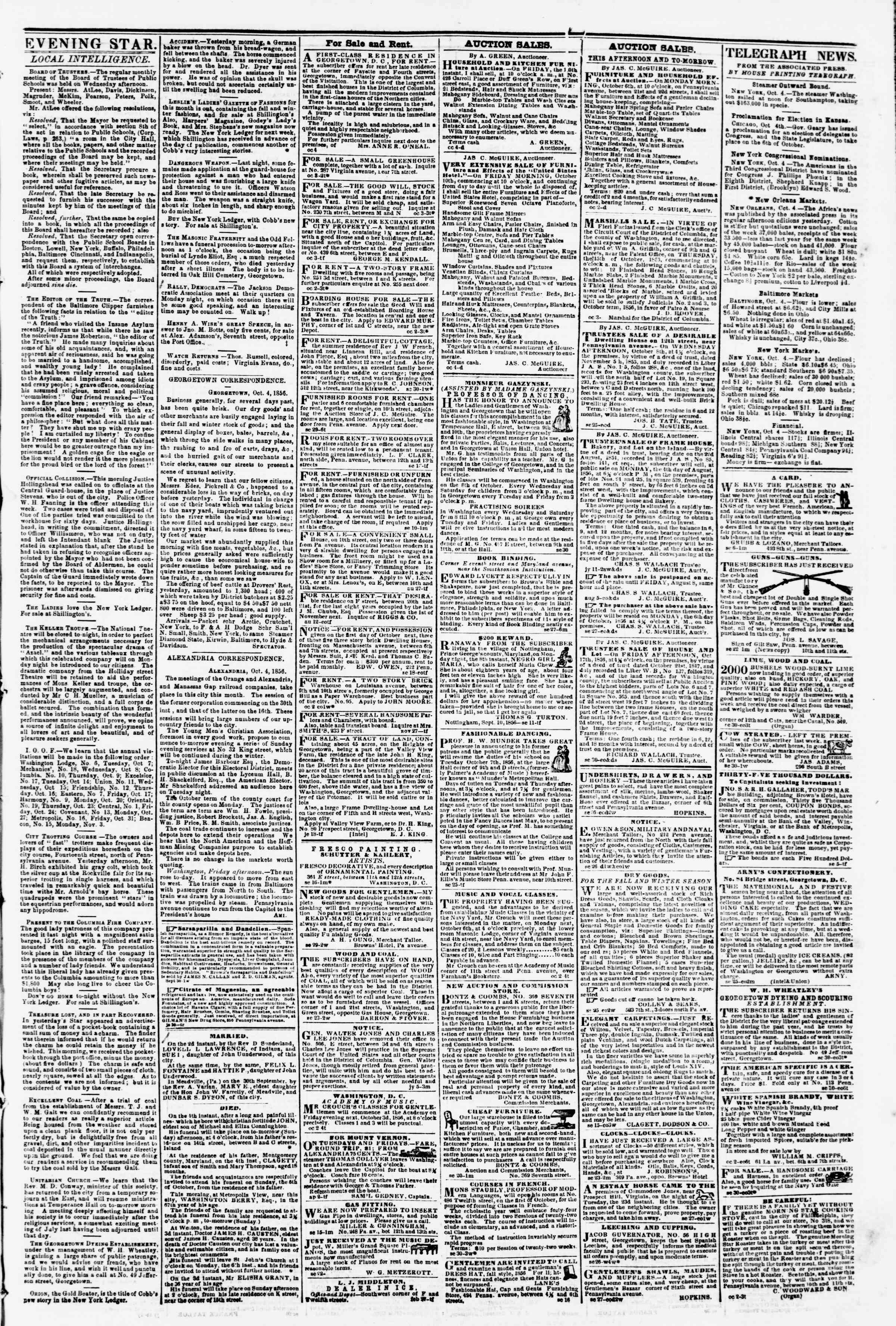 Newspaper of Evening Star dated October 4, 1856 Page 3