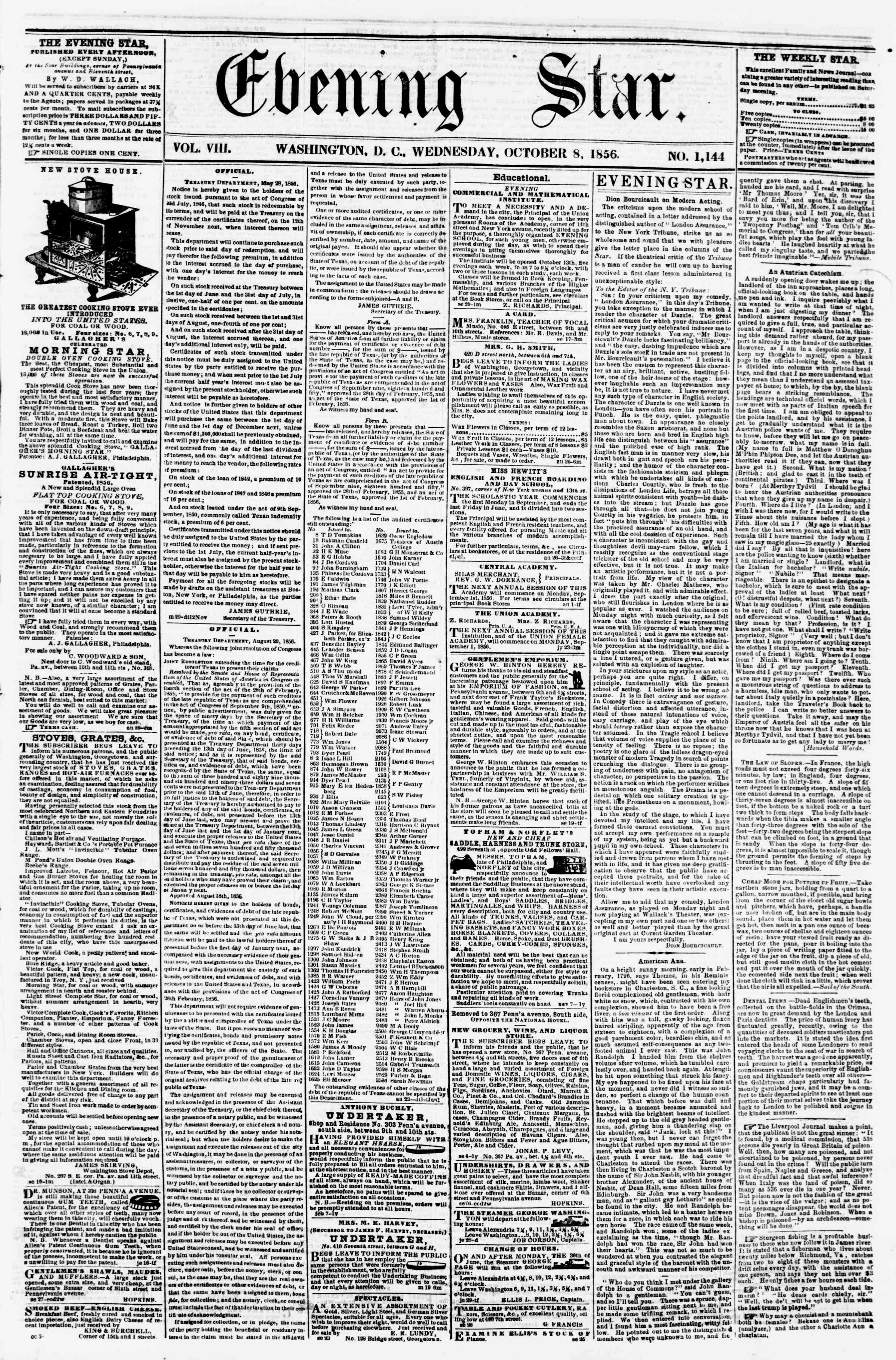 Newspaper of Evening Star dated October 8, 1856 Page 1