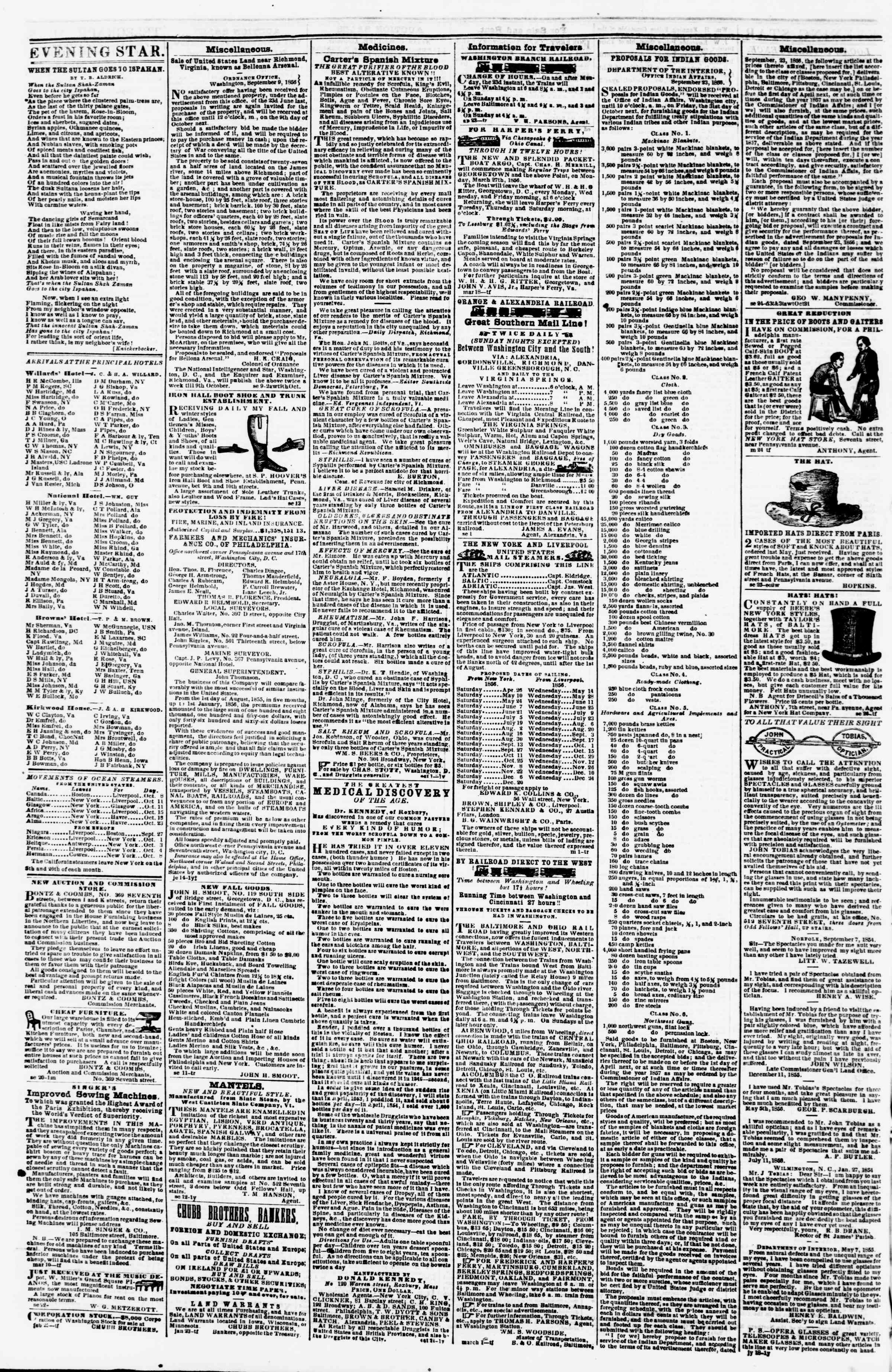 Newspaper of Evening Star dated October 8, 1856 Page 4