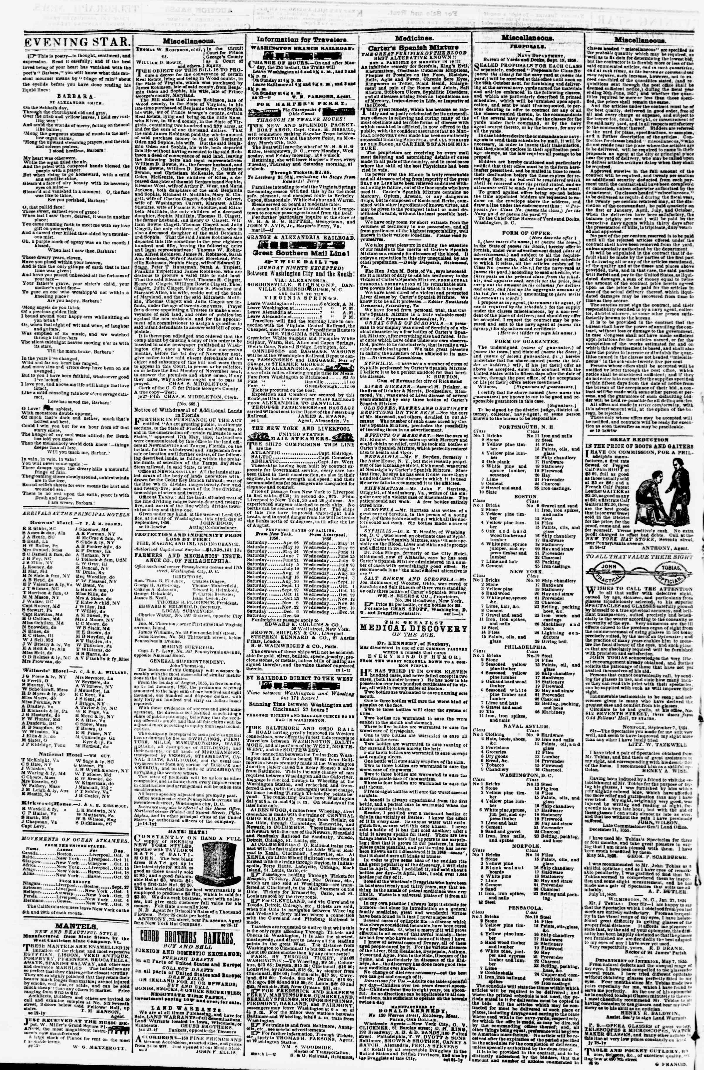 Newspaper of Evening Star dated October 11, 1856 Page 4