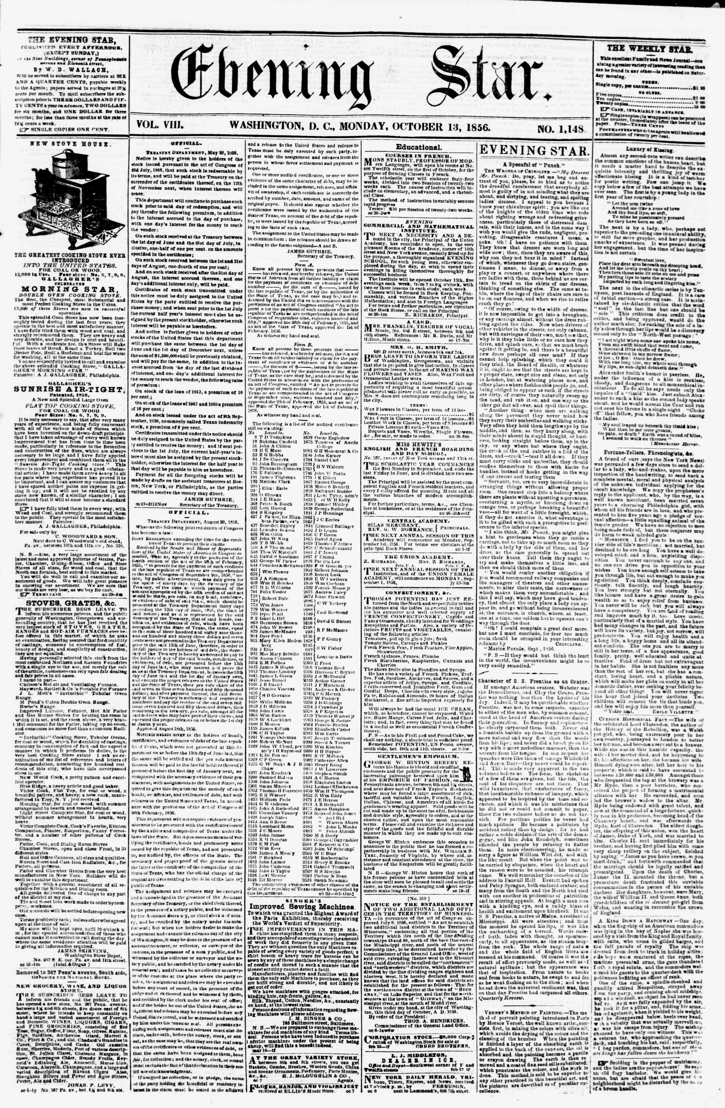 Newspaper of Evening Star dated October 13, 1856 Page 1