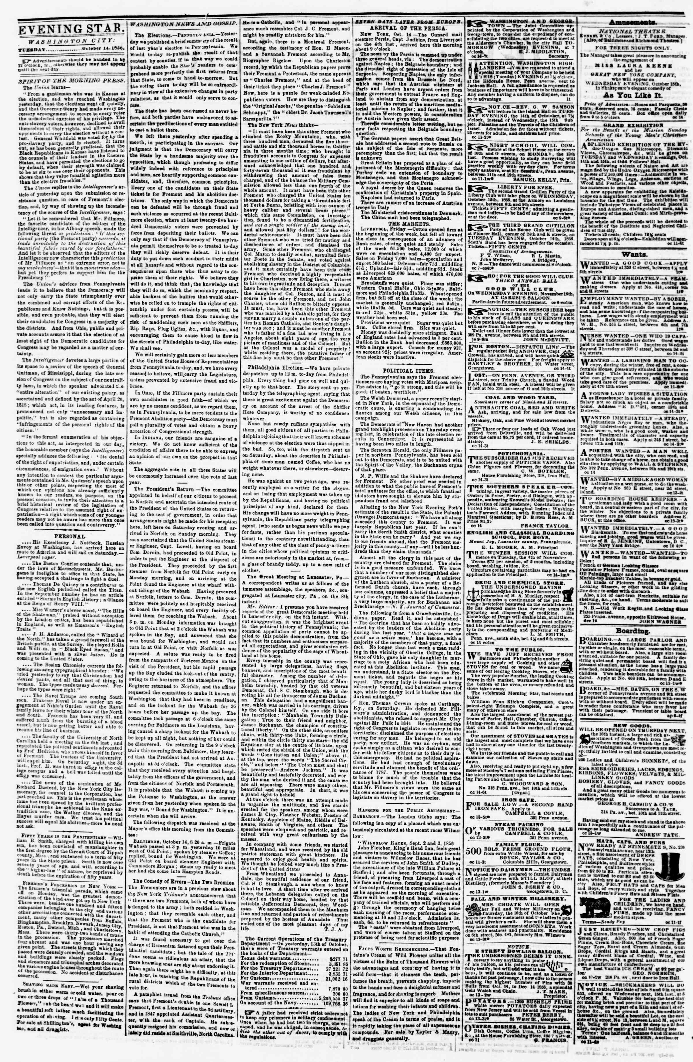 14 Ekim 1856 tarihli Evening Star Gazetesi Sayfa 2