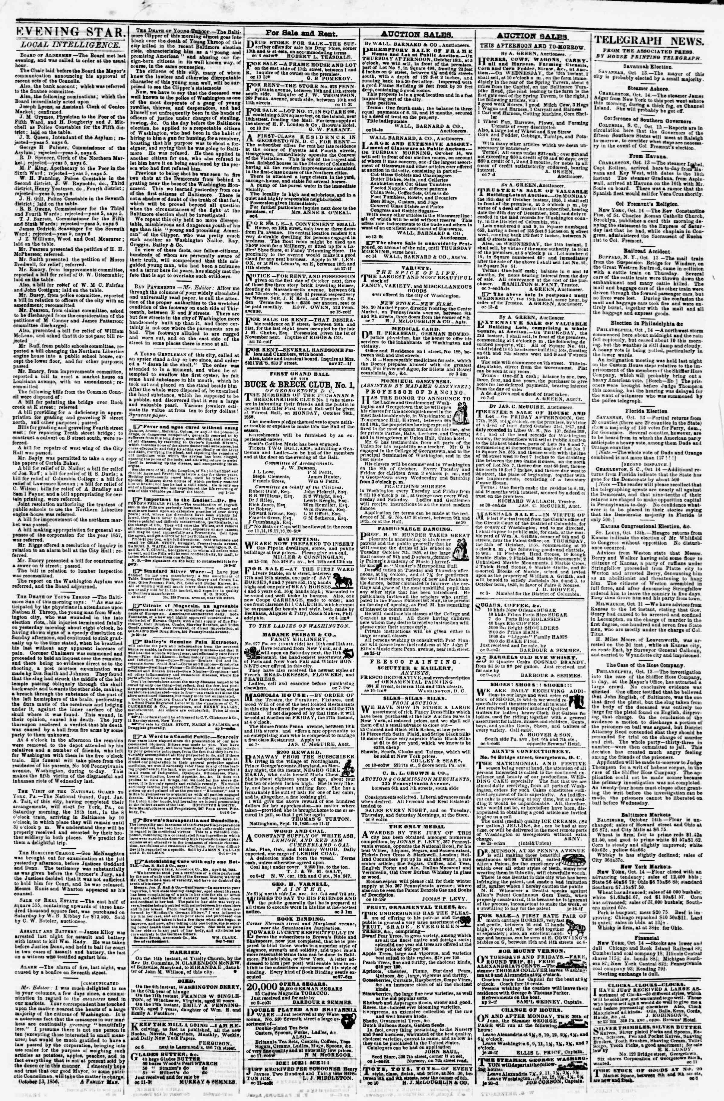Newspaper of Evening Star dated October 14, 1856 Page 3